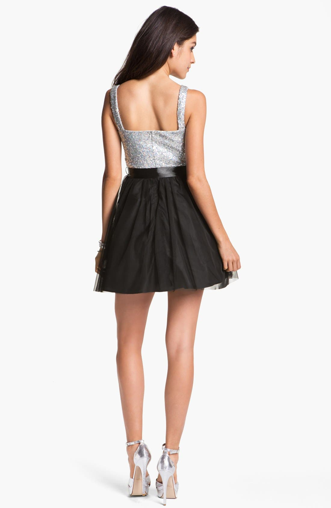 Alternate Image 2  - As U Wish Sequin Bustier Skater Dress (Juniors)
