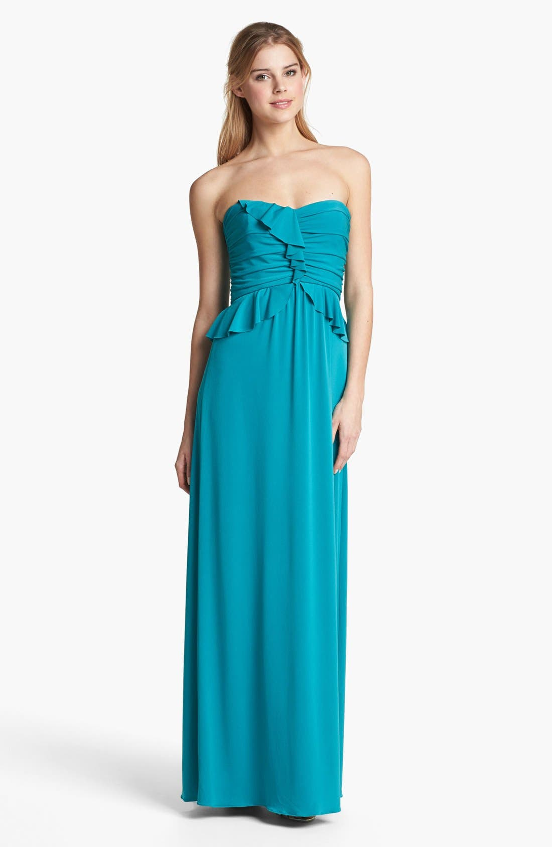 Alternate Image 1 Selected - Amsale Strapless Ruffled Peplum Jersey Gown