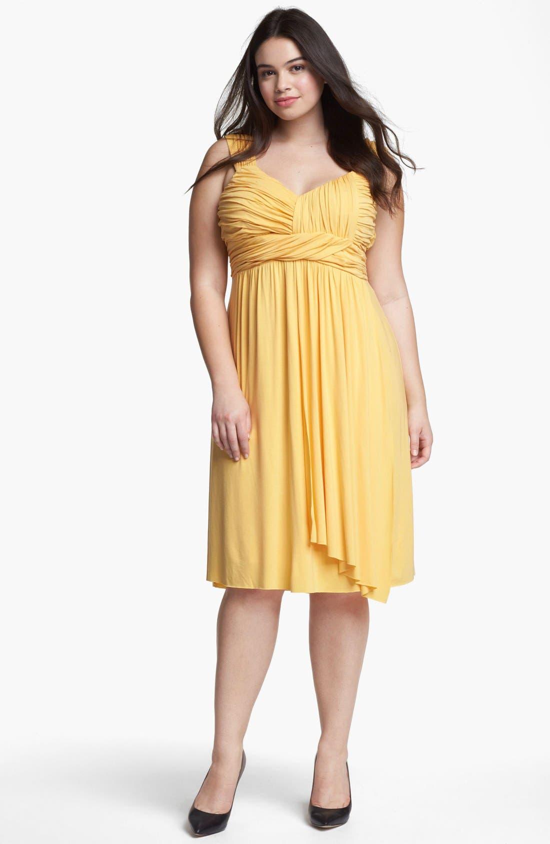 Main Image - Kische Gathered Front Drape Jersey Dress (Plus Size)
