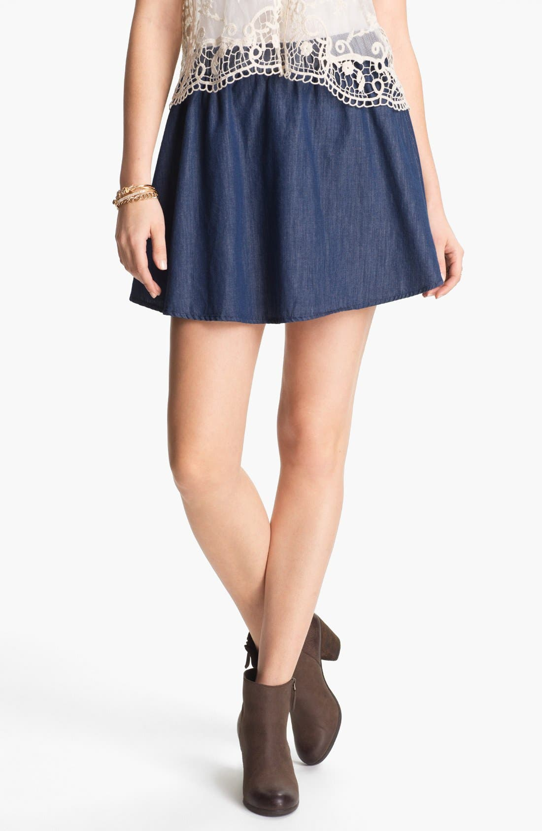 Alternate Image 1 Selected - Lily White Chambray Skater Skirt (Juniors)