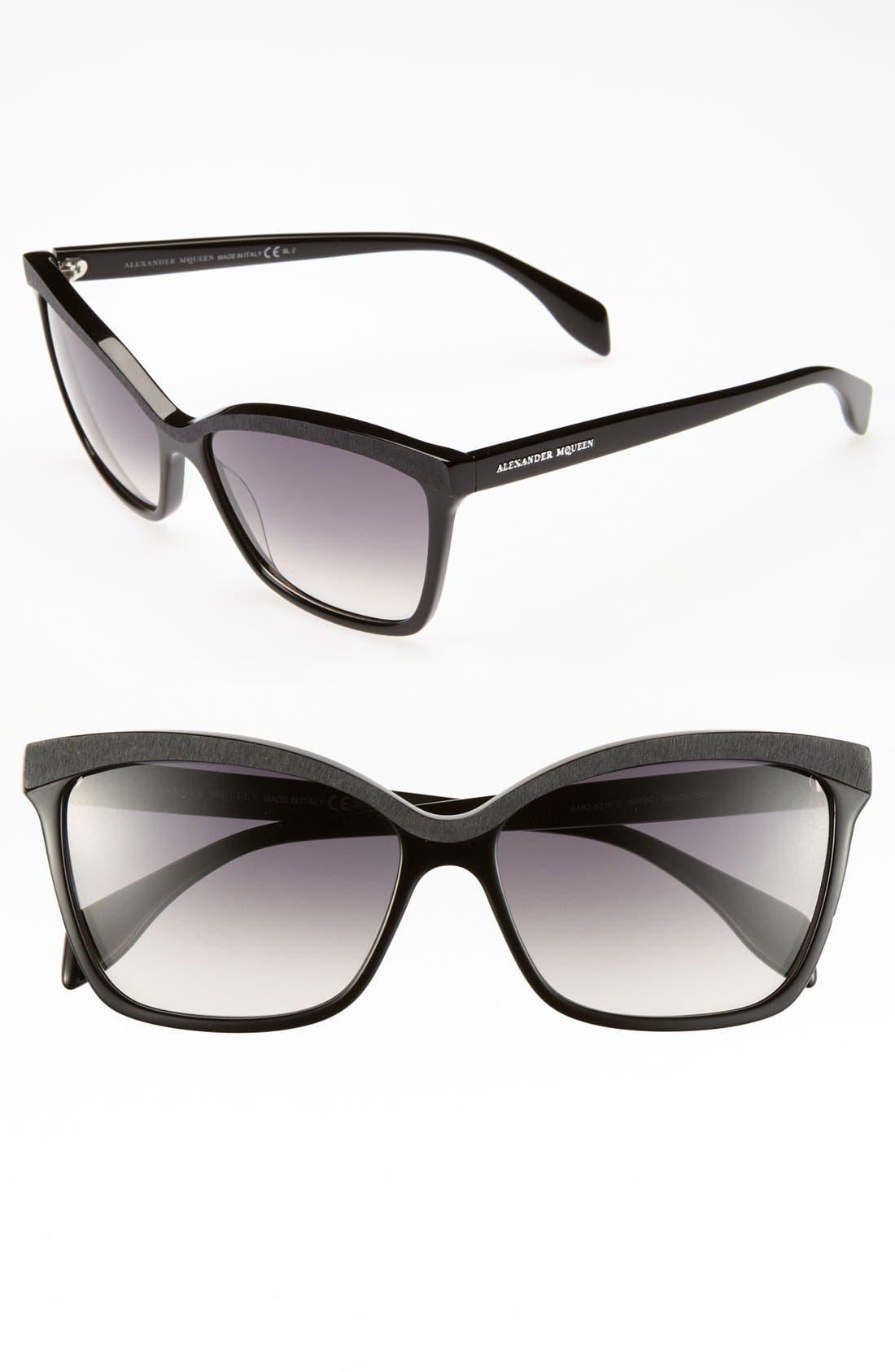 Main Image - Alexander McQueen 58mm 'Retro' Sunglasses (Online Only)