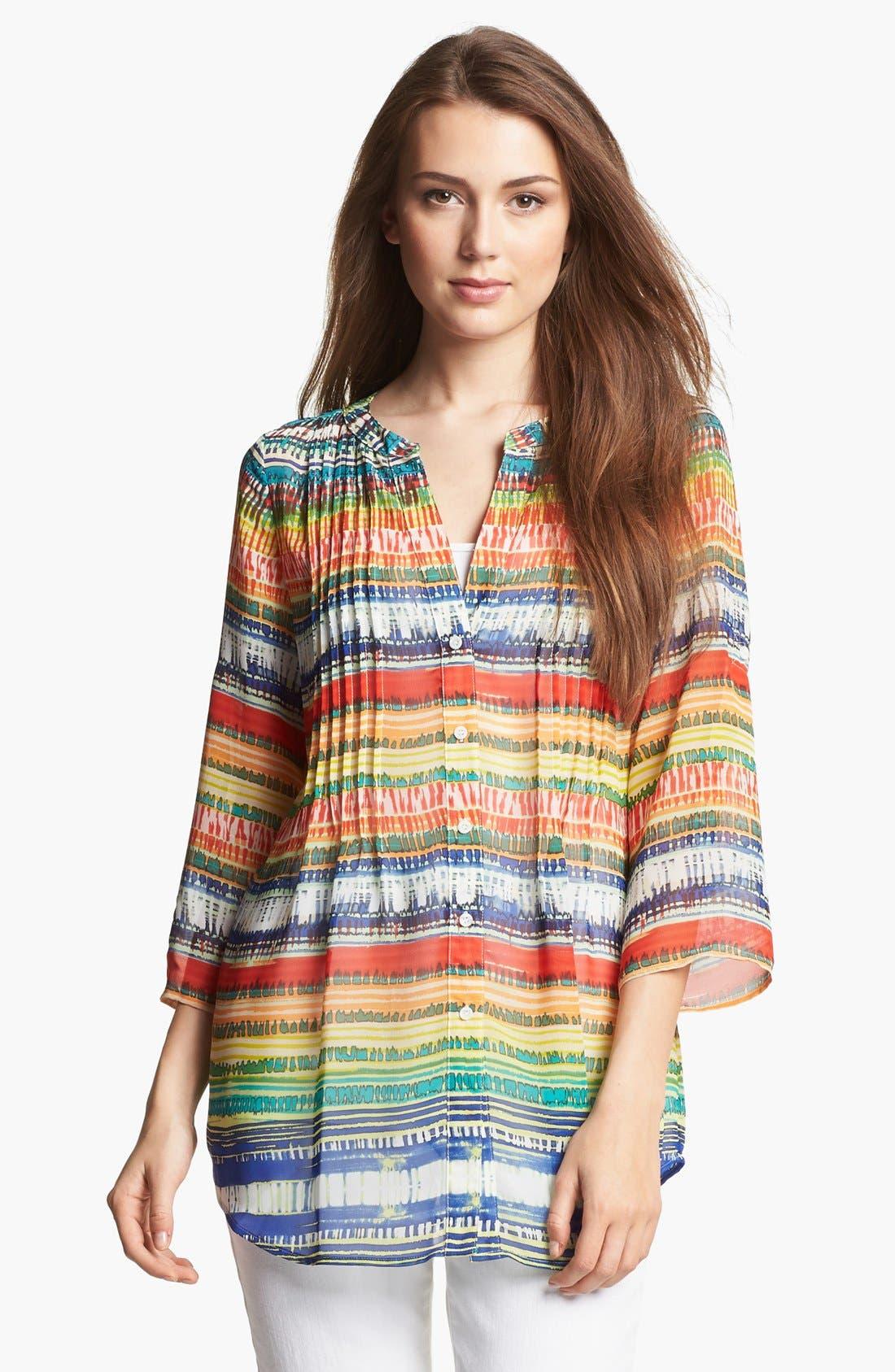 Alternate Image 1 Selected - Chaus Ethnic Stripe Chiffon Blouse