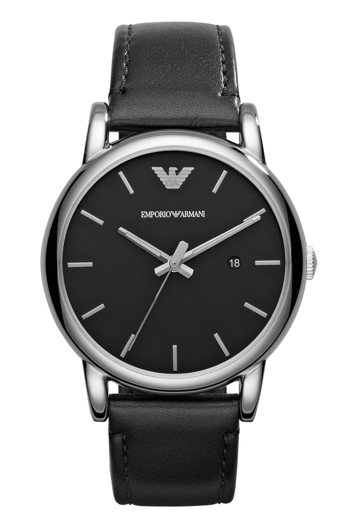 Alternate Image 1 Selected - Emporio Armani Leather Strap Watch, 41mm