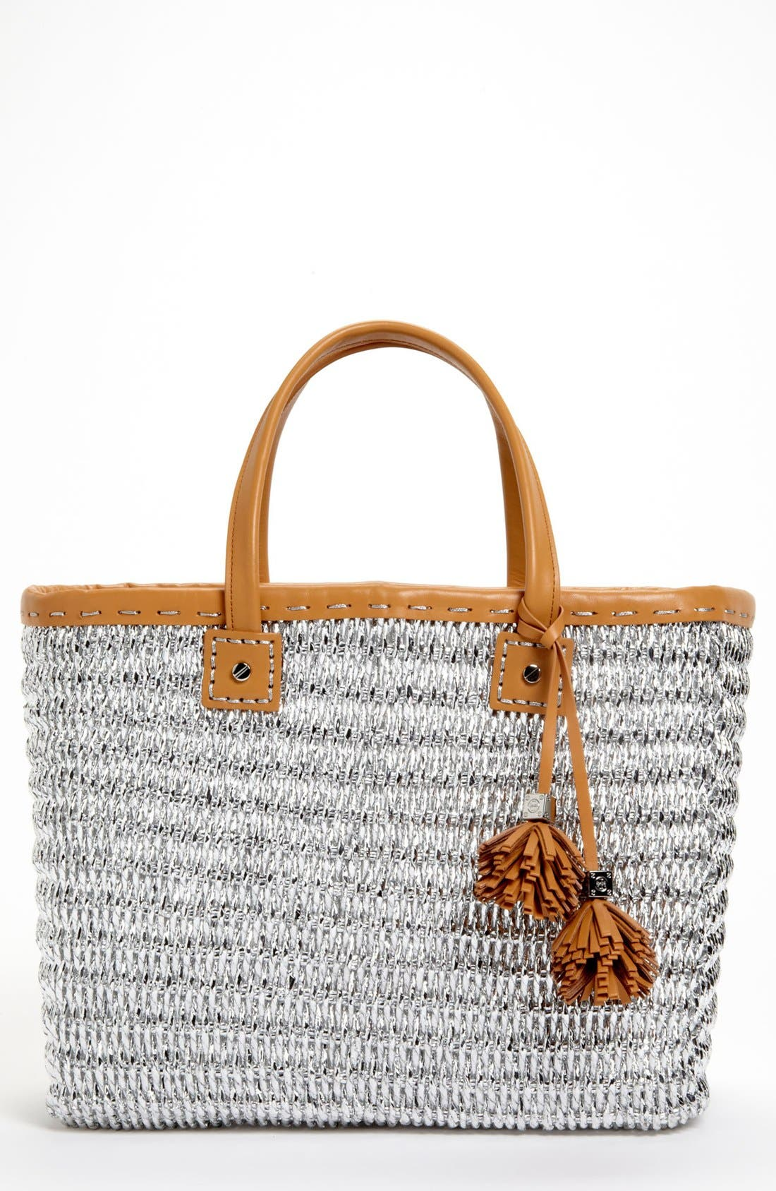 Main Image - Tory Burch Metallic Straw Tote, Large
