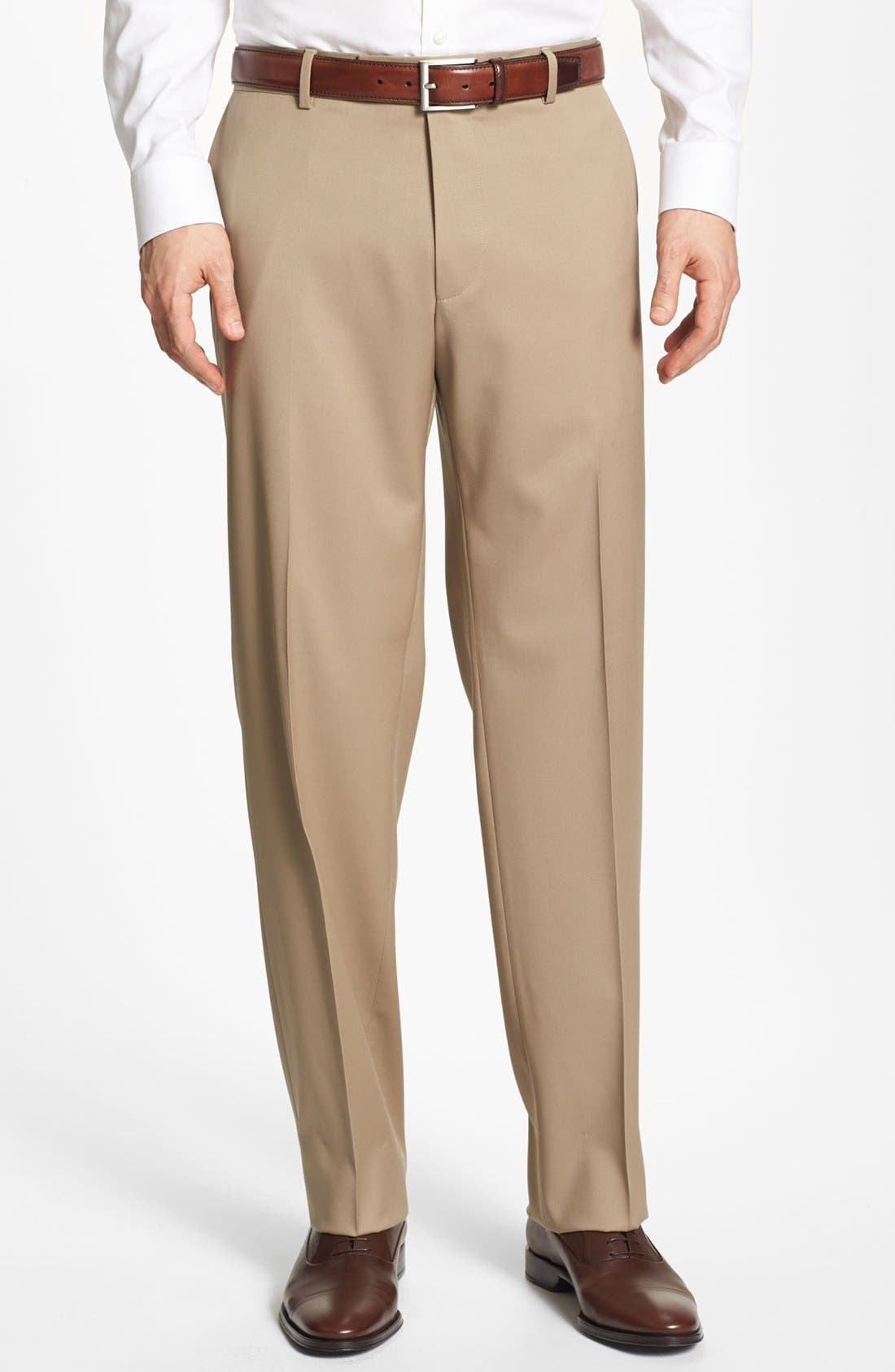Main Image - BOSS 'Jeffrey US' Flat Front Wool Trousers