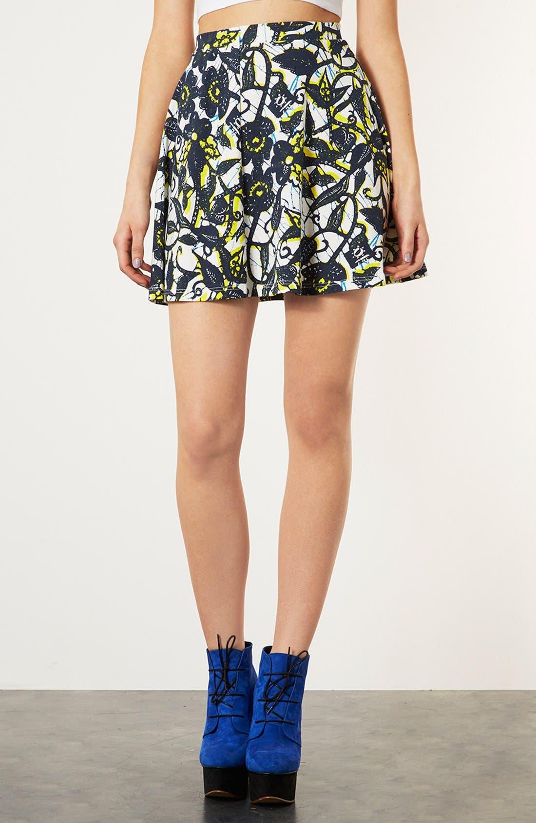 Main Image - Topshop Foliage Print Skater Skirt