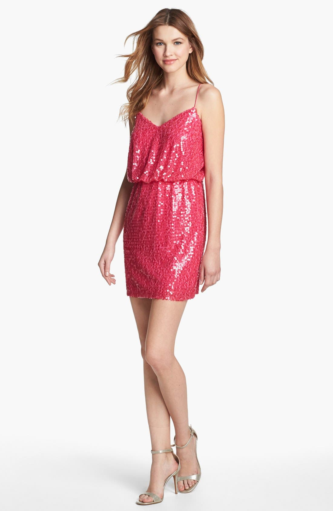 Alternate Image 1 Selected - Aidan Mattox Sleeveless Sequin Blouson Dress (Online Only)