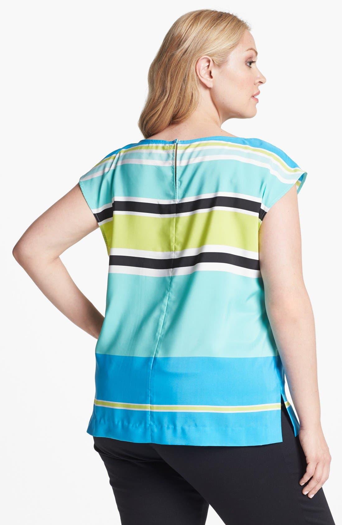 Alternate Image 2  - Vince Camuto Variegated Stripe Blouse (Plus)