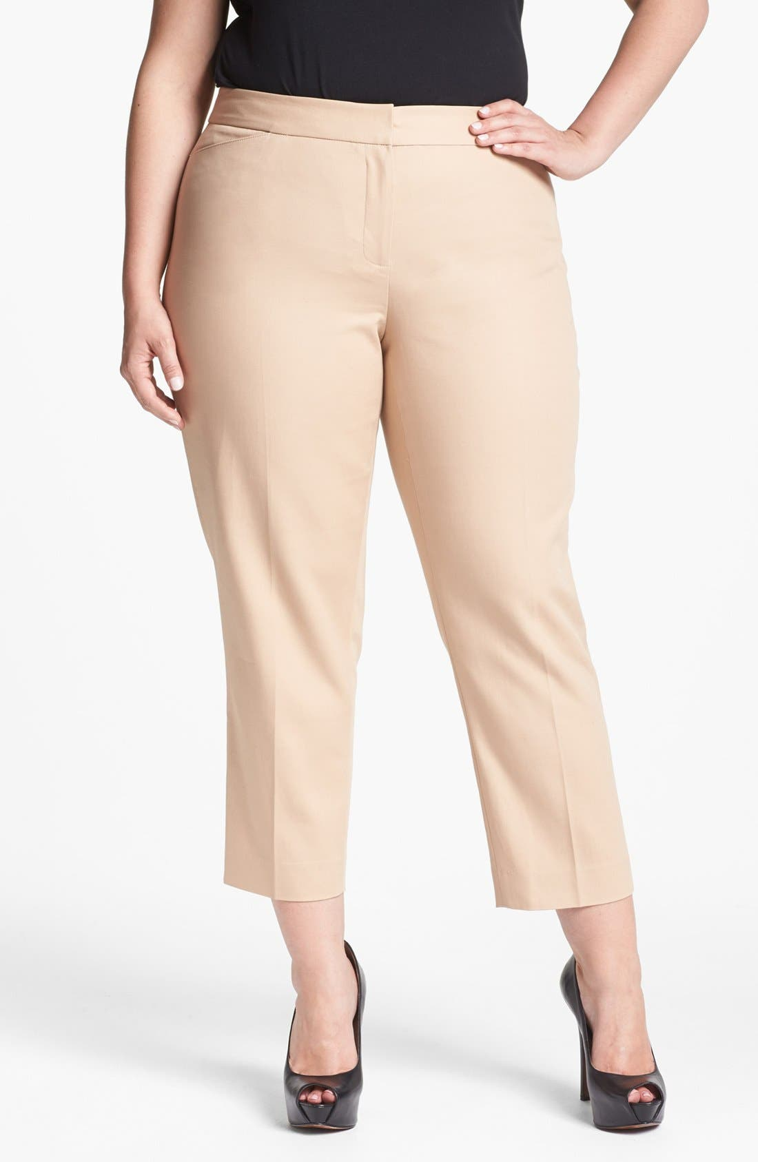 Alternate Image 1 Selected - Anne Klein Straight Crop Pants (Plus Size)
