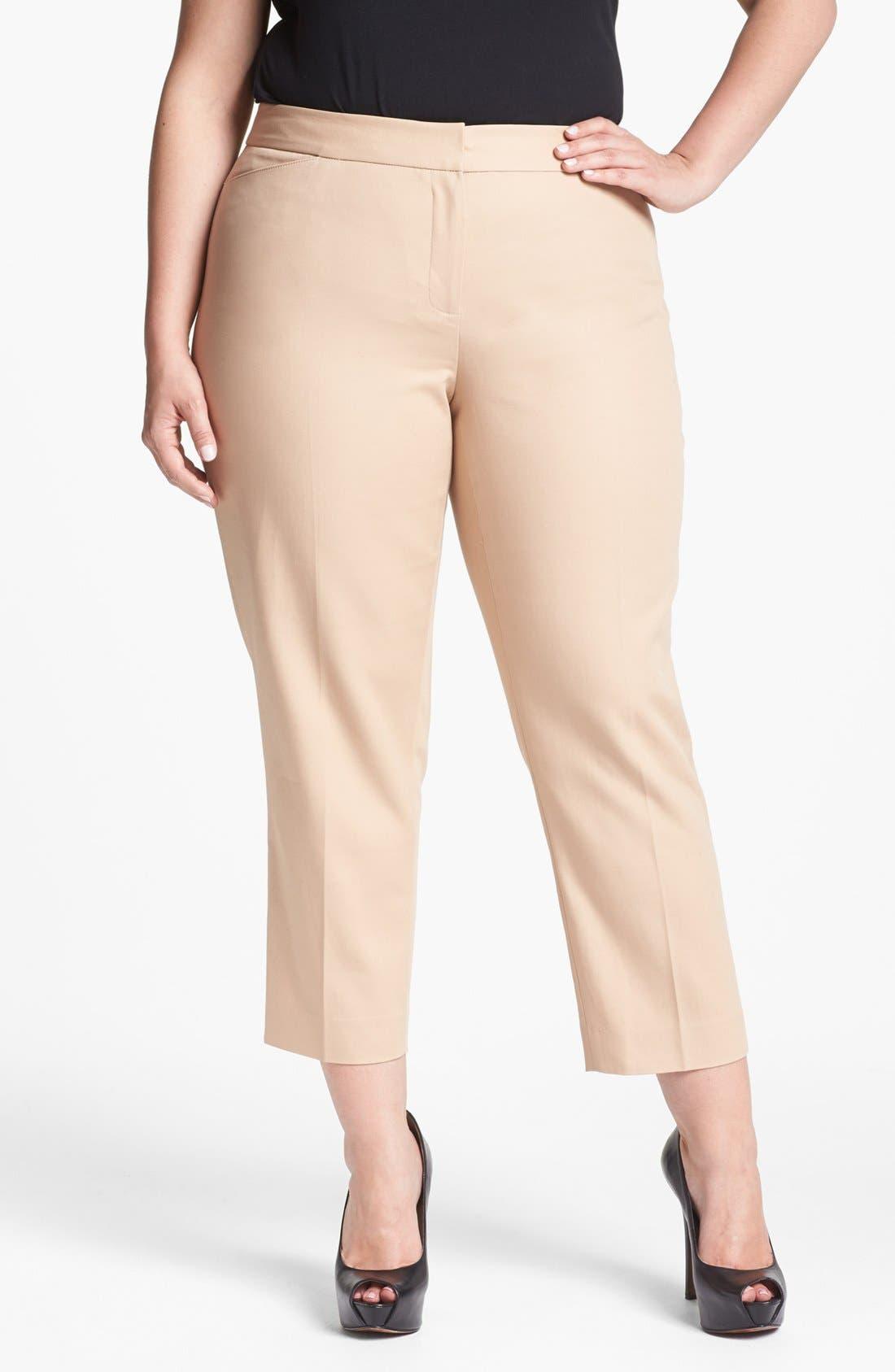 Main Image - Anne Klein Straight Crop Pants (Plus Size)