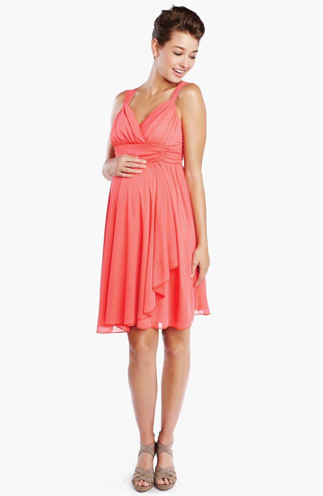 Alternate Image 1 Selected - Maternal America Ruffle Wrap Maternity Dress