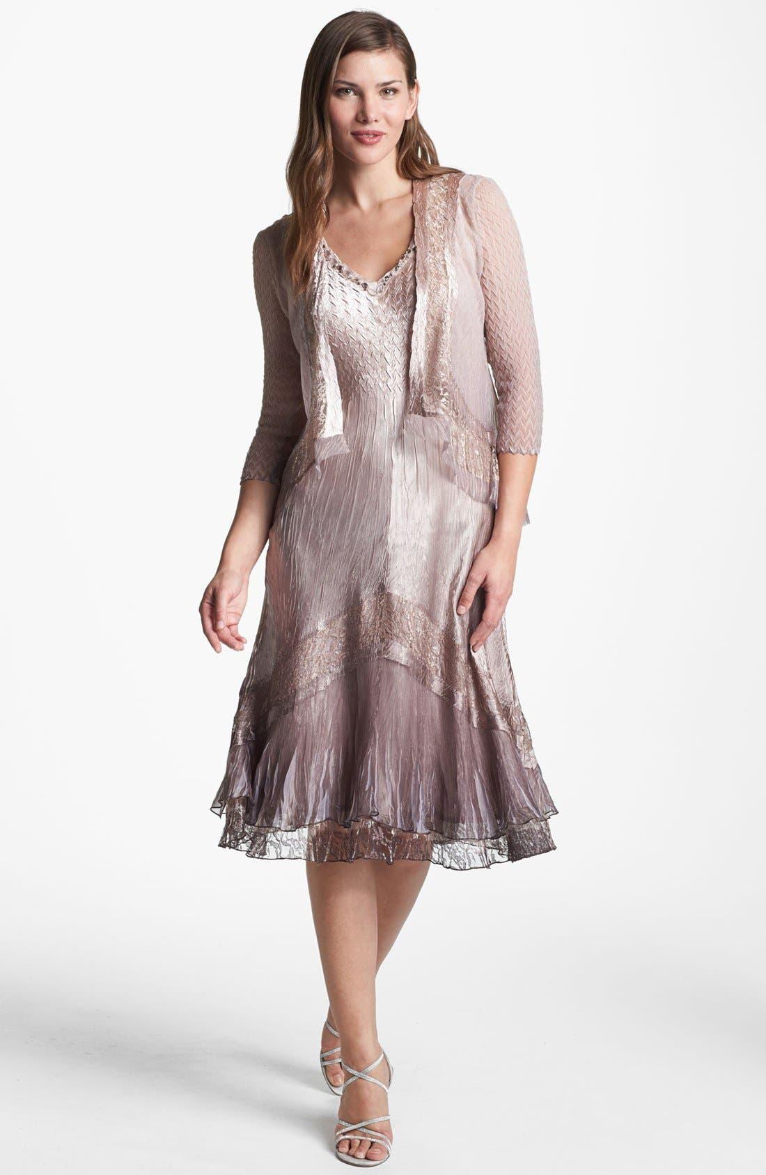 Main Image - Komarov Textured Satin Dress & Jacket