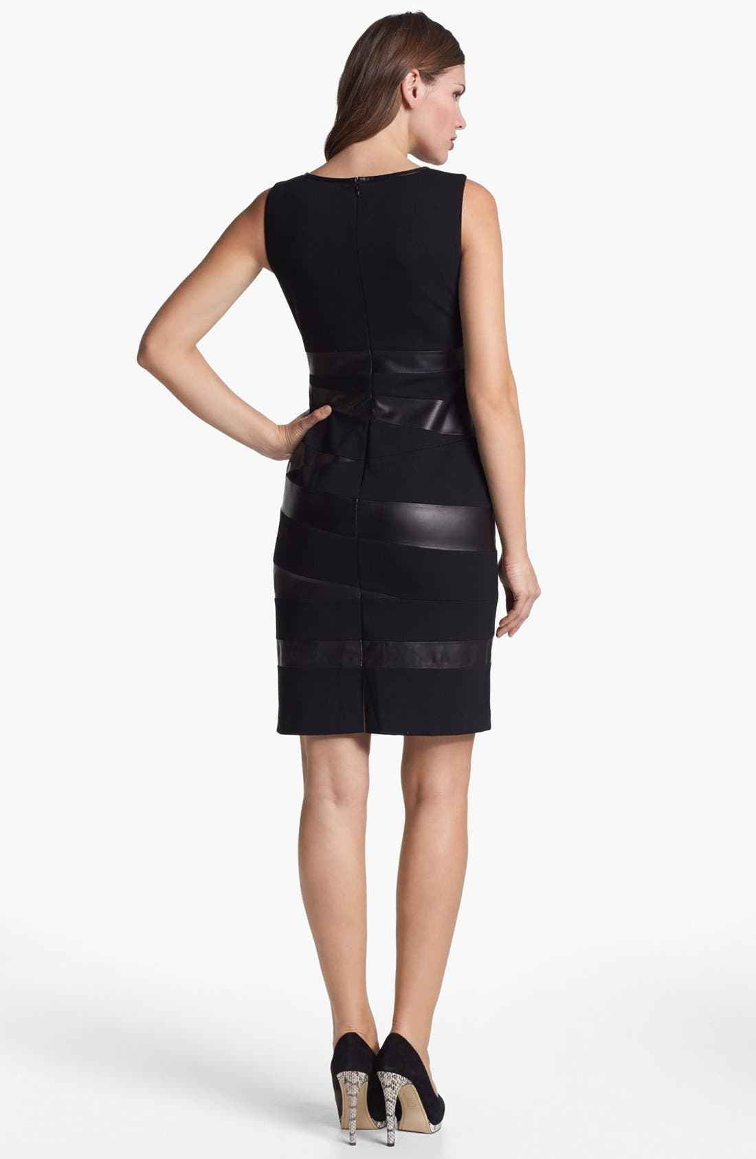 Alternate Image 2  - Lafayette 148 New York Leather Trim Punto Milano Dress