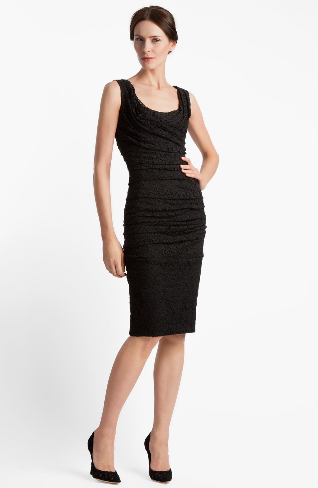 Alternate Image 1 Selected - Dolce&Gabbana Ruched Stretch Lace Dress