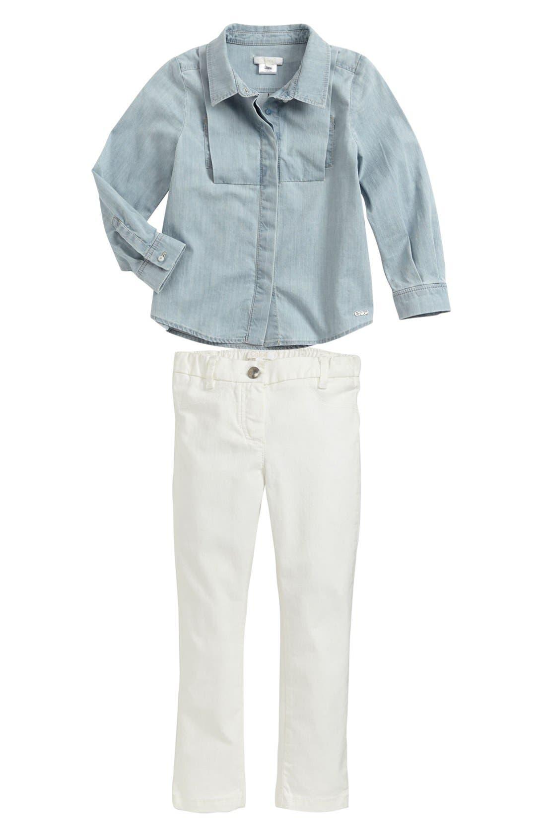 Alternate Image 1 Selected - Chloé Chambray Shirt & Jeggings (Little Girls & Big Girls)