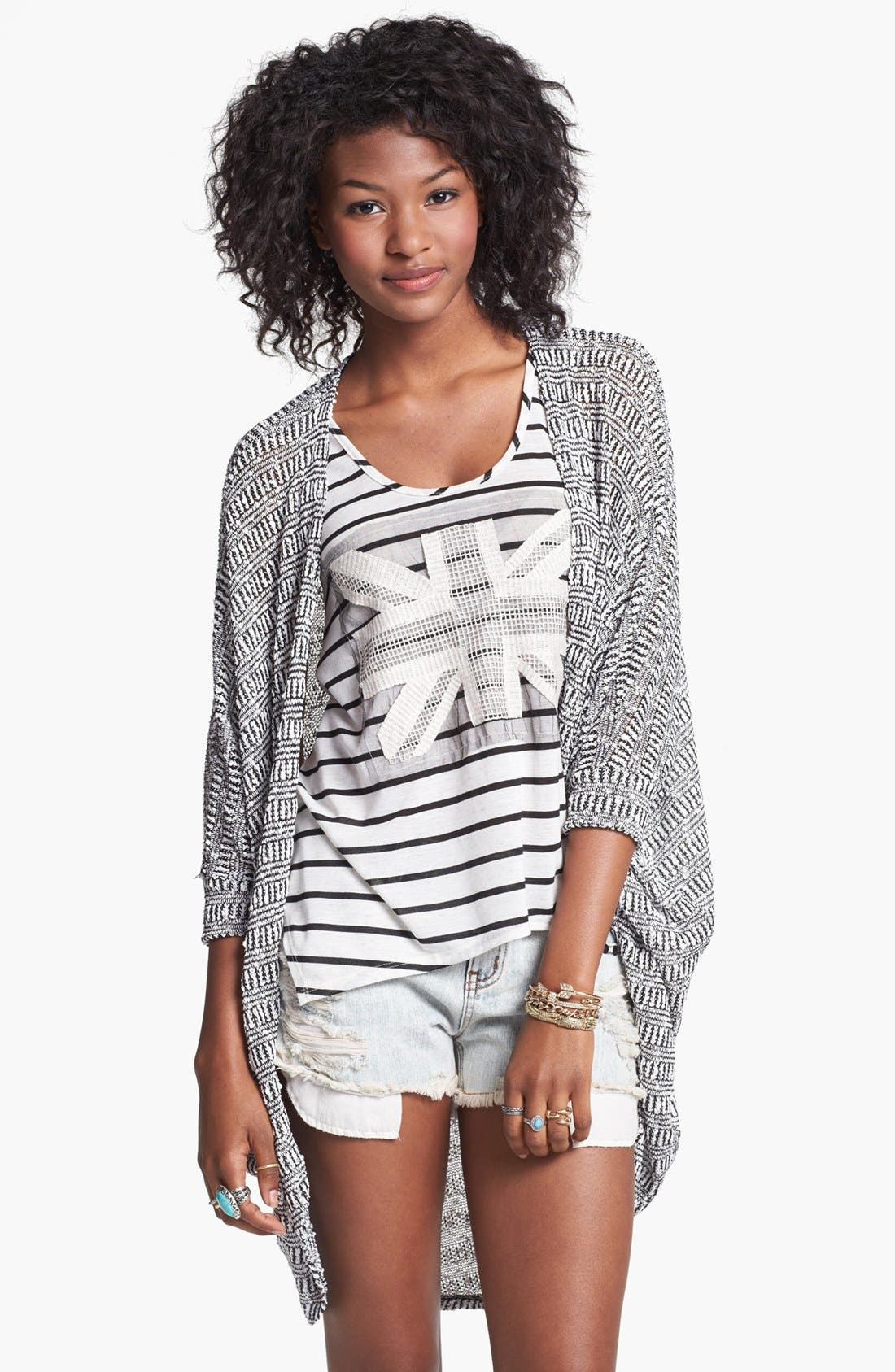 Main Image - Painted Threads Oversized Sheer Knit Cardigan (Juniors)