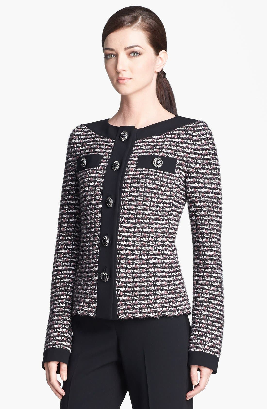 Main Image - St. John Collection Contrast Accent Knit Jacket