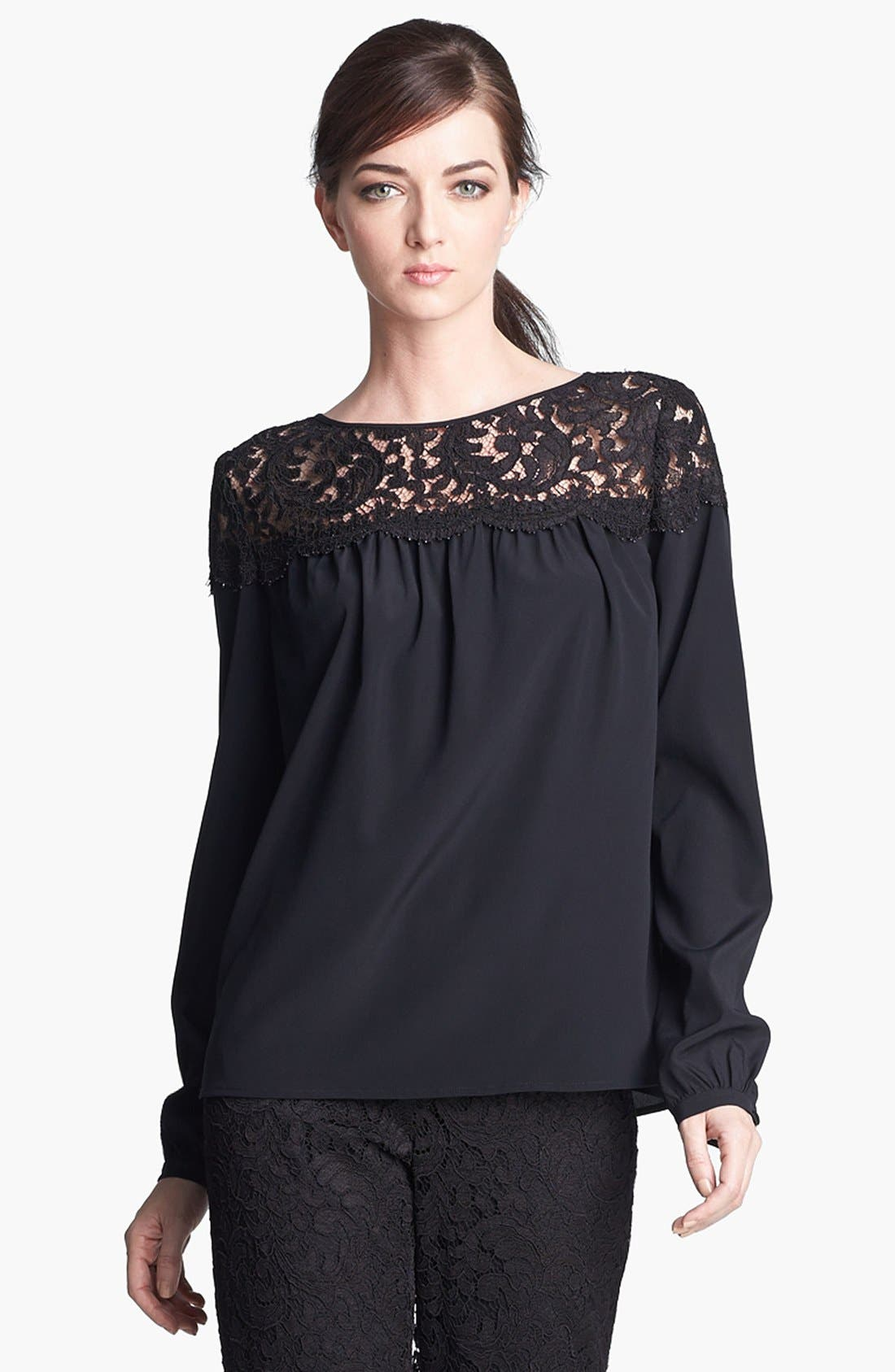 Alternate Image 1 Selected - St. John Collection Plume Lace & Silk Crepe Blouse