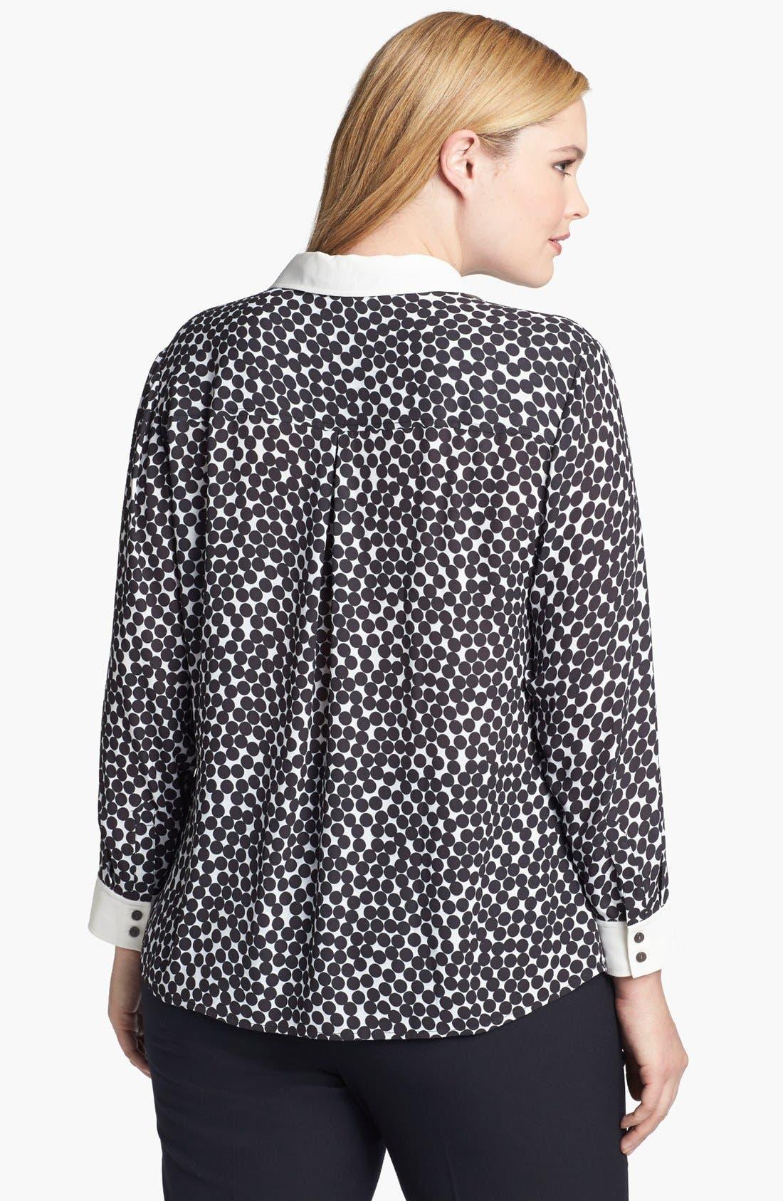 Alternate Image 2  - Halogen® Print Button Front Shirt (Plus Size) (Online Only)