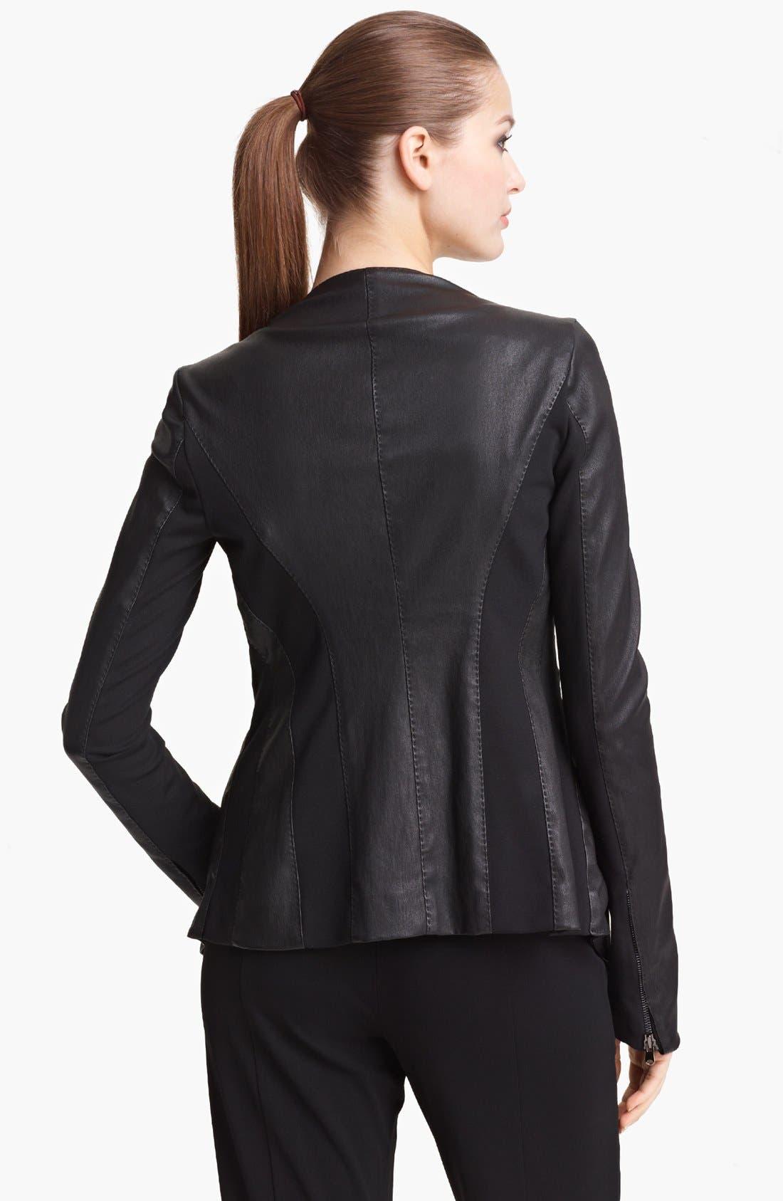 Alternate Image 2  - Donna Karan Collection Vintage Stretch Leather Jacket