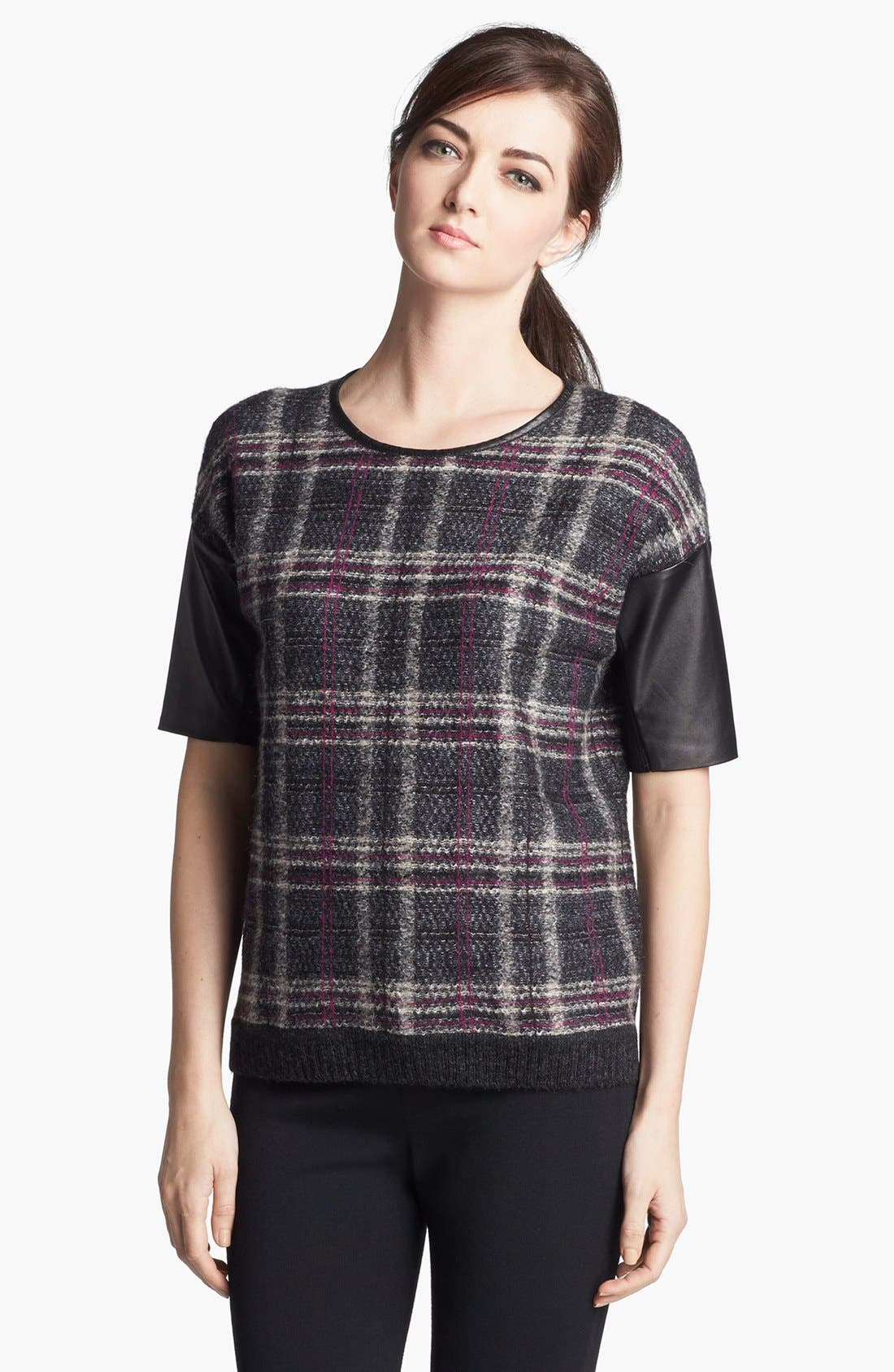 Main Image - St. John Collection Leather Accent Plaid Sweater