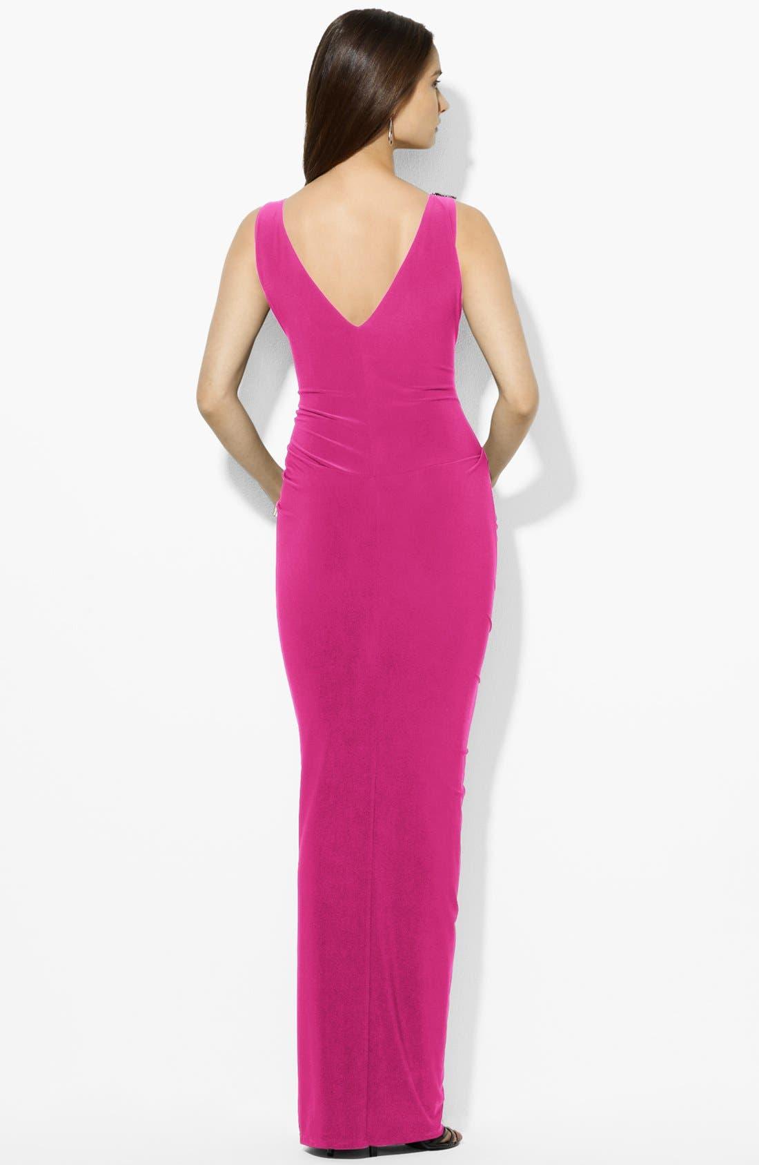Alternate Image 2  - Lauren Ralph Lauren Embellished Matte Jersey Gown
