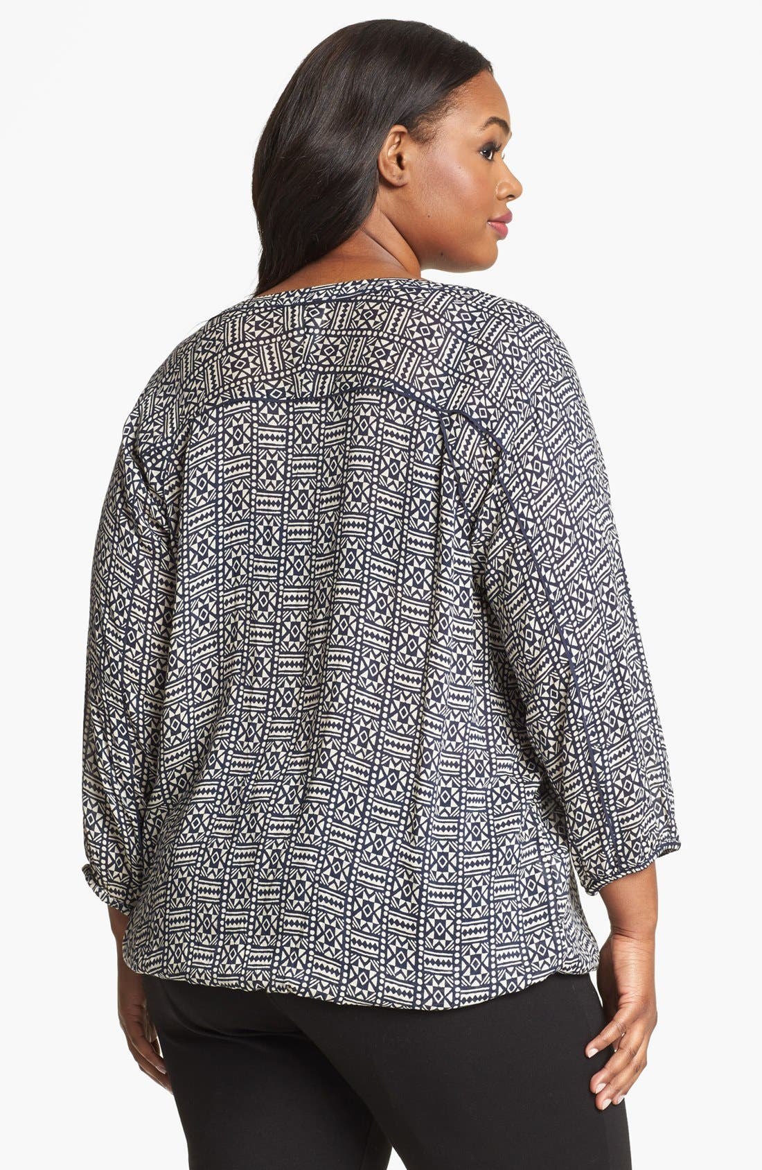 Alternate Image 2  - Lucky Brand 'John Robshaw - Joplin' Print Peasant Top (Plus Size)