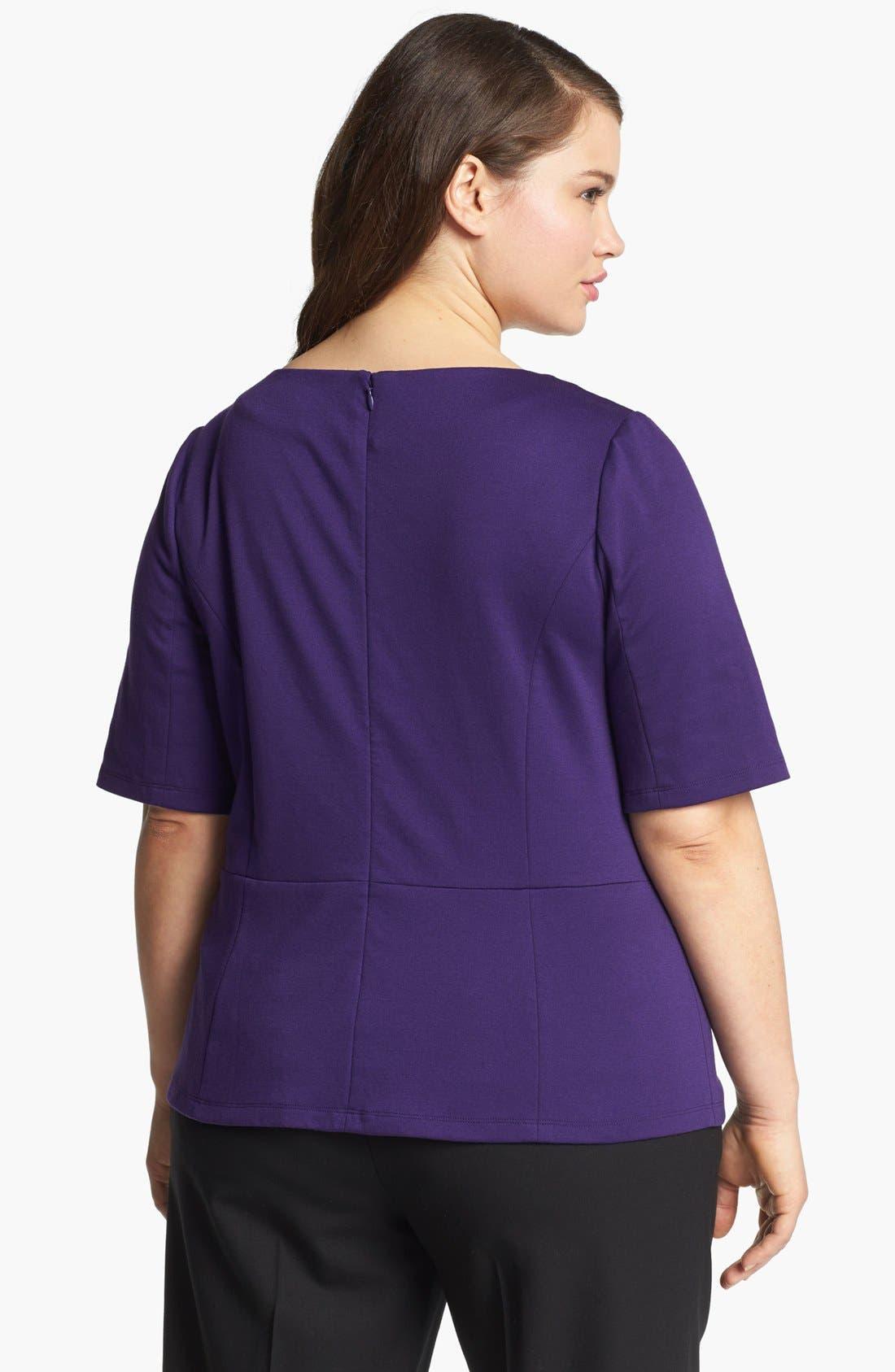 Alternate Image 2  - Sejour Embellished Ponte Knit Top (Plus Size)