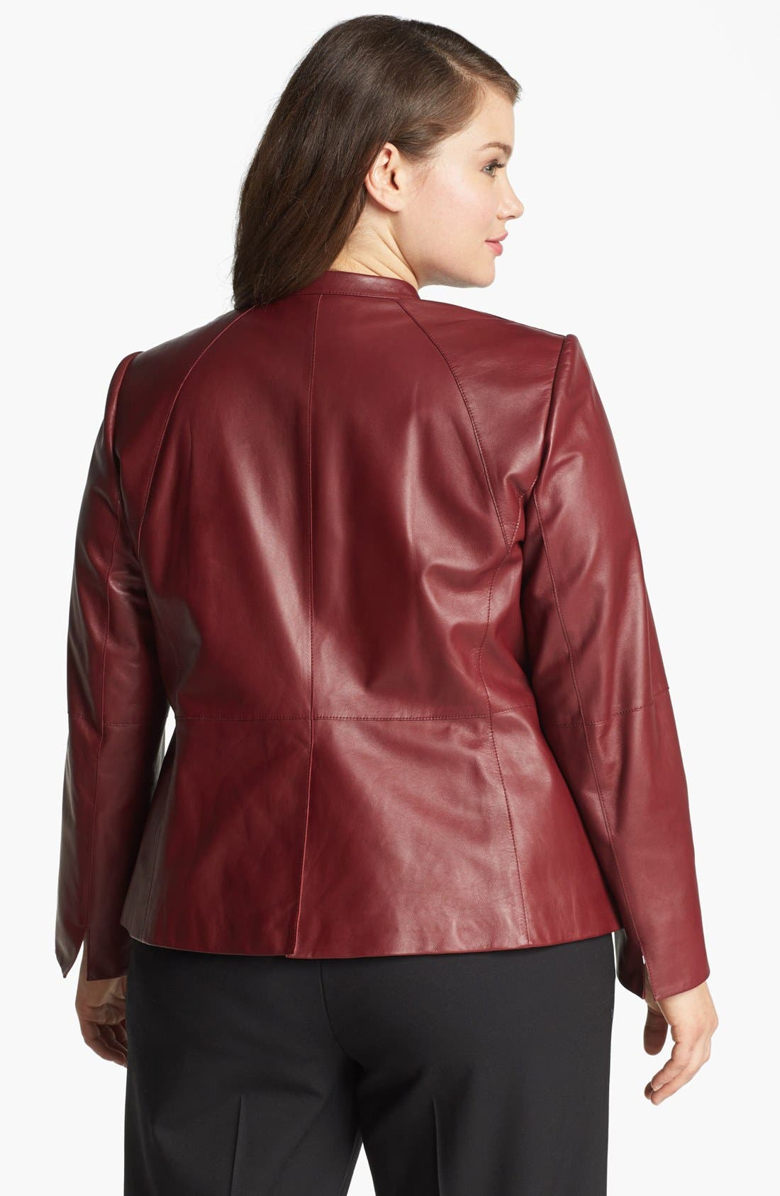 Alternate Image 2  - Lafayette 148 New York Front Zip Leather Jacket (Plus Size)