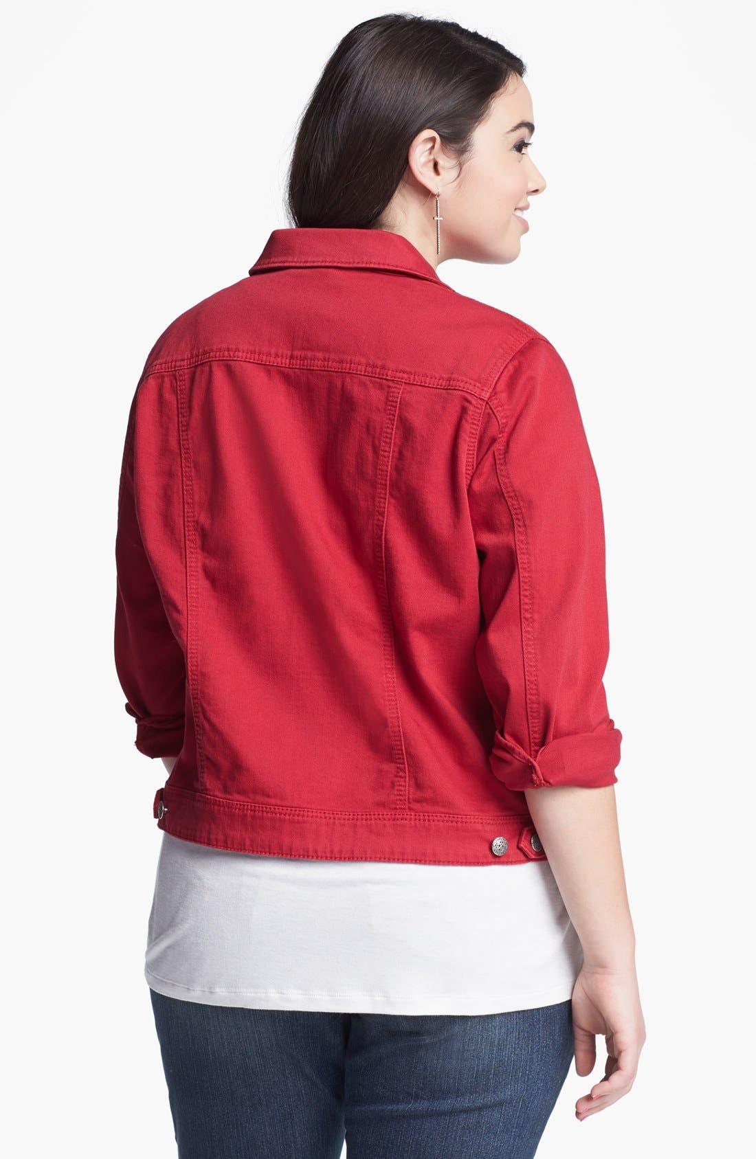 Alternate Image 2  - Silver Jeans Co. Denim Jacket (Juniors Plus)
