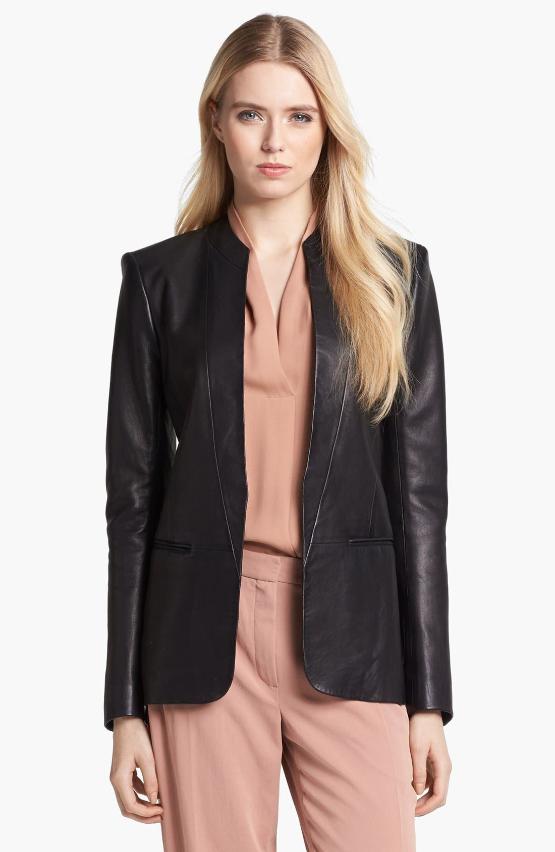 Main Image - Theory 'Tamler R.' Open Leather Blazer