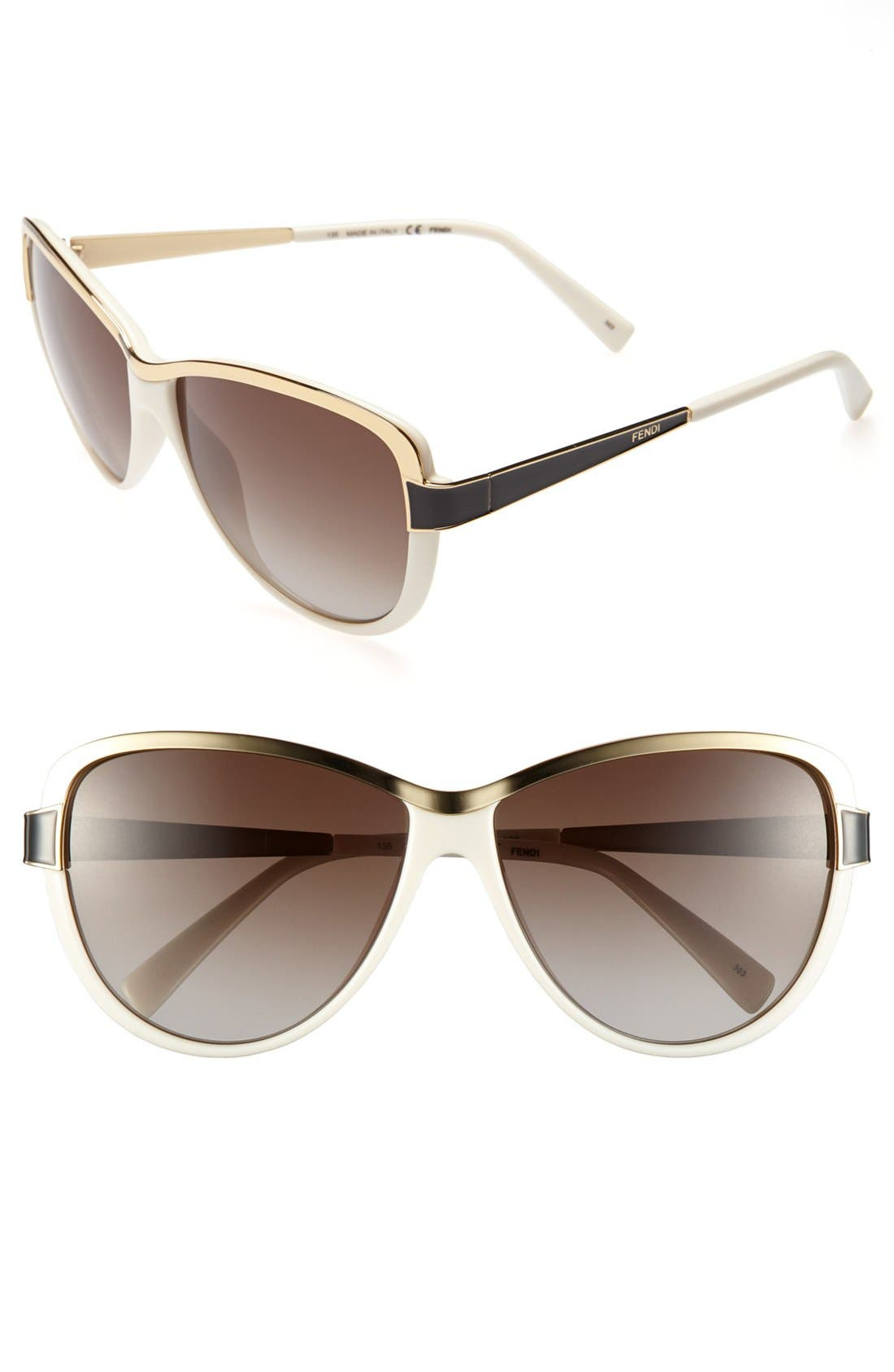 Alternate Image 1 Selected - Fendi 60mm Cat's Eye Sunglasses