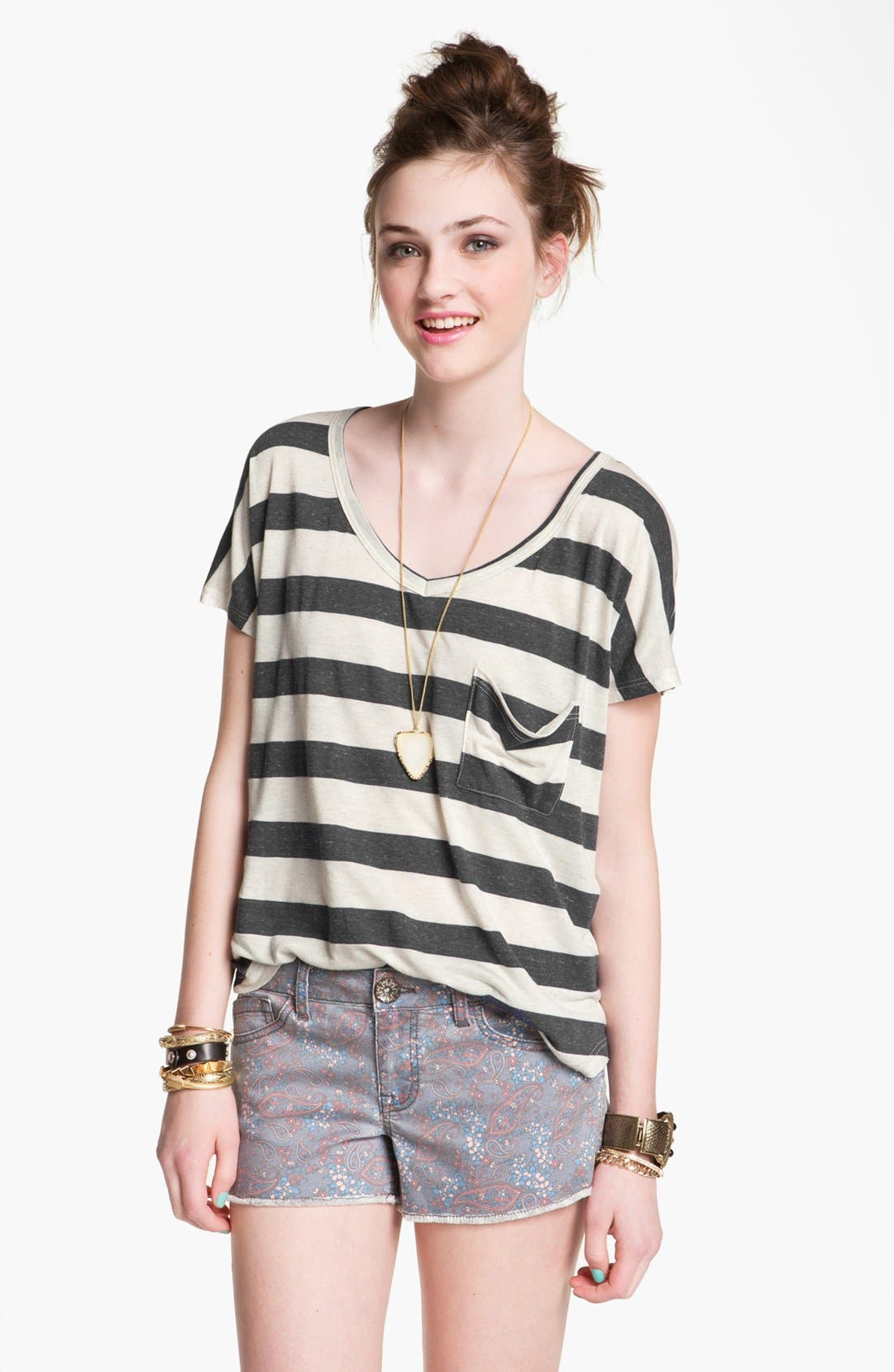 Main Image - Project Social T Stripe Slouchy Pocket Tee (Juniors)