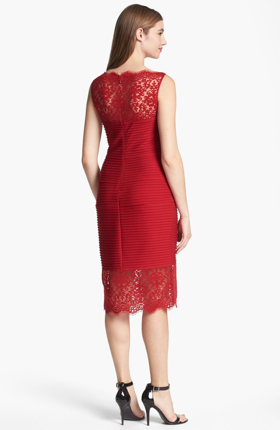 Alternate Image 2  - Tadashi Shoji Lace Detail Sleeveless Pencil Dress