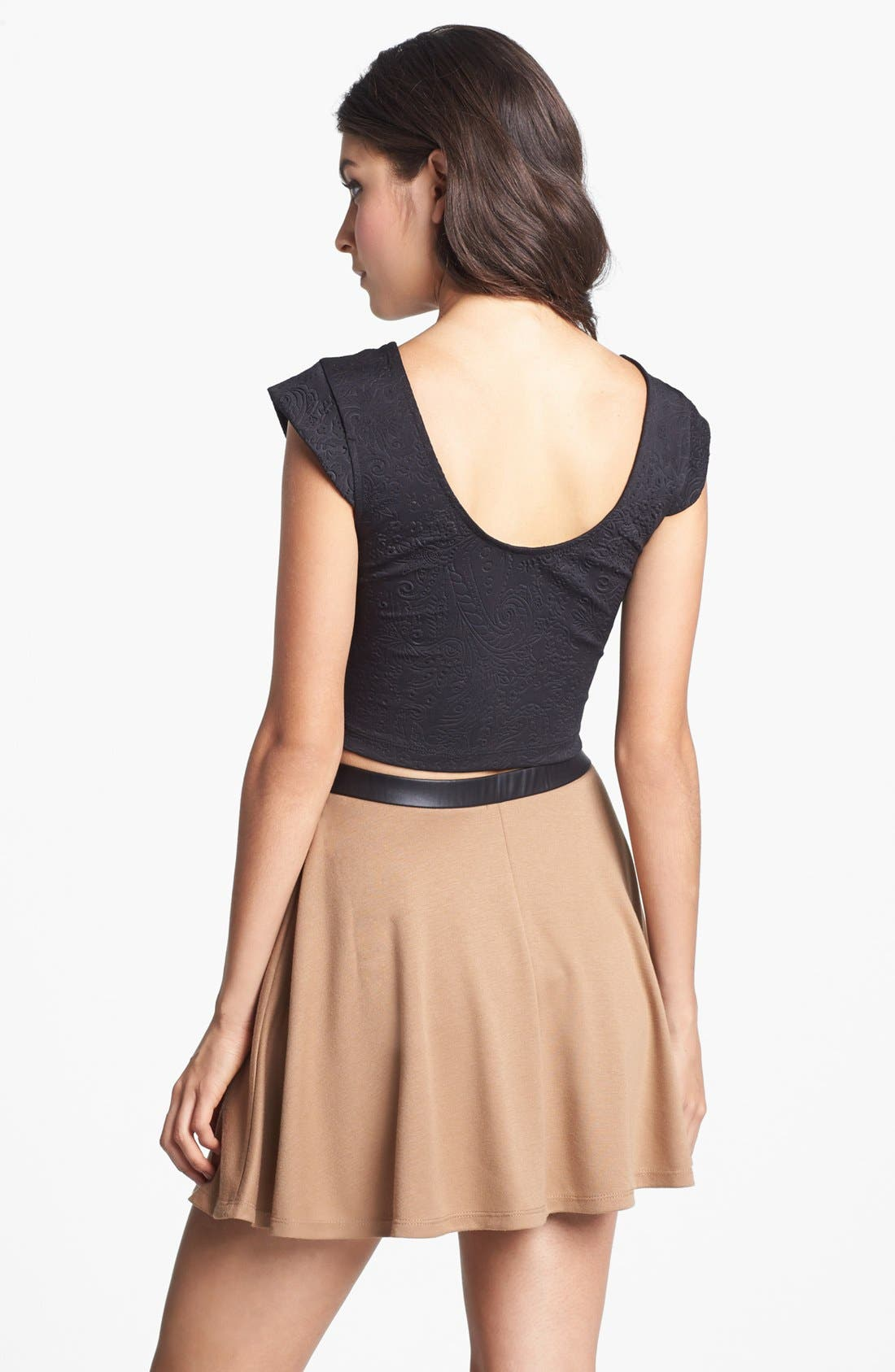 Alternate Image 2  - Mimi Chica Faux Leather Trim High Waist Skater Skirt (Juniors) (Online Only)