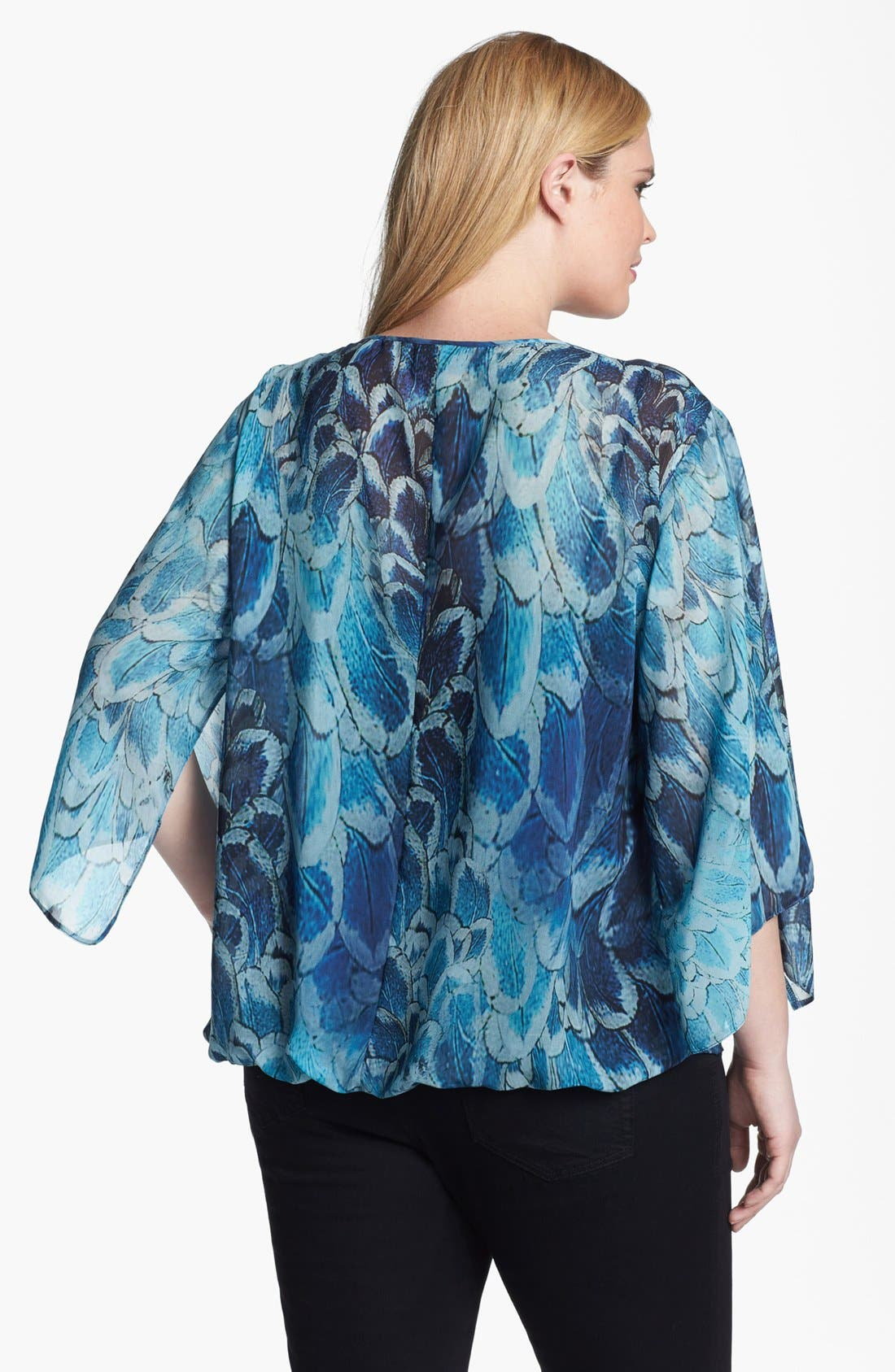 Alternate Image 2  - Evans Print Faux Wrap Blouse (Plus Size)