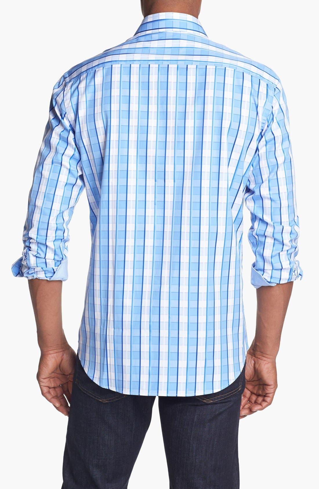 Alternate Image 3  - Bugatchi Check Shaped Fit Cotton Sport Shirt