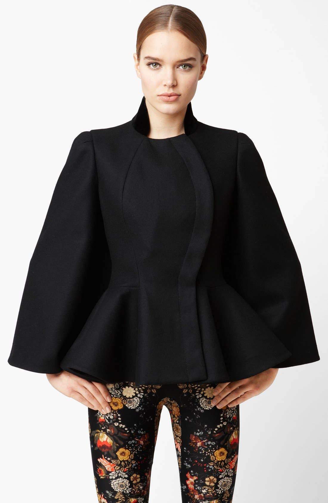 Alternate Image 1 Selected - Alexander McQueen Wool Felt Peplum Cape