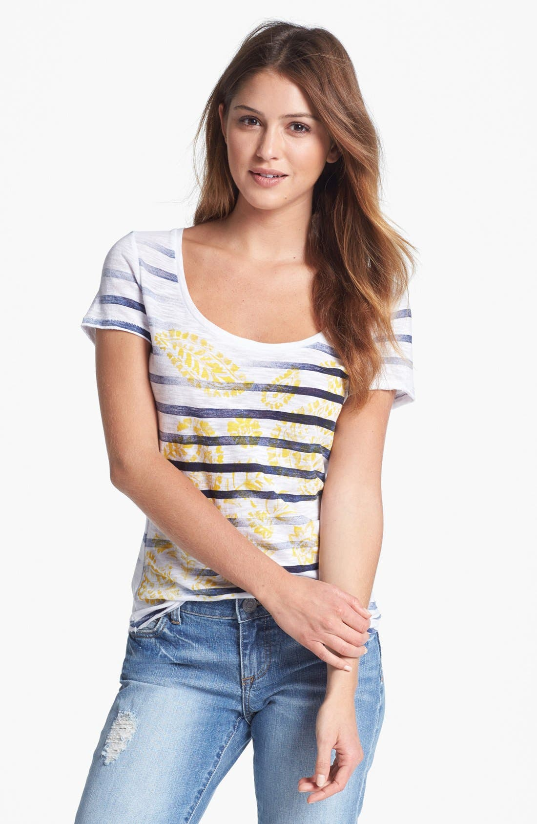 Alternate Image 1 Selected - Lucky Brand 'Kendra' Paisley Graphic Stripe Tee