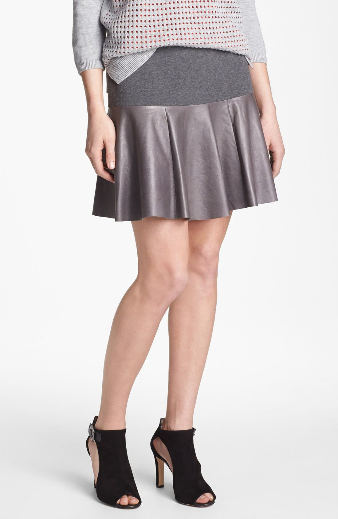 Alternate Image 1 Selected - Hinge® Leather Panel Peplum Skirt