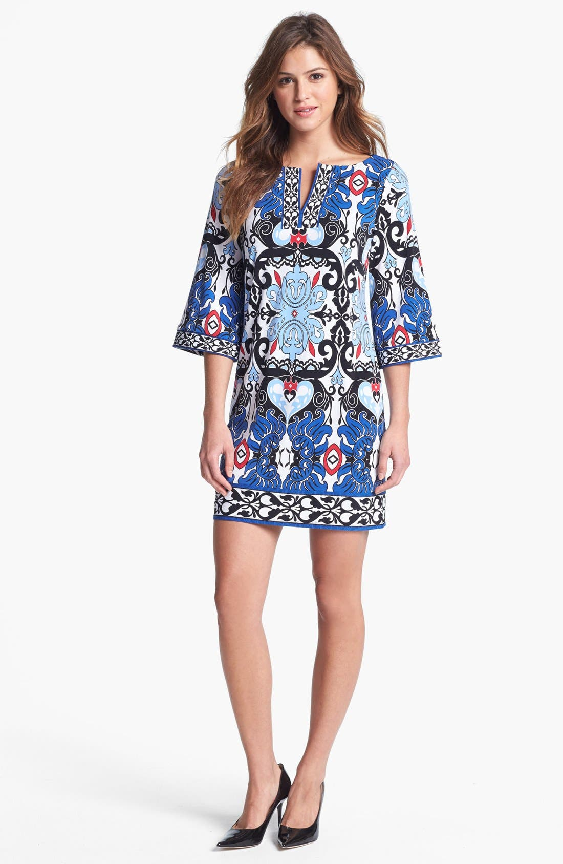 Main Image - Laundry by Shelli Segal Print Jersey Shift Dress (Petite)