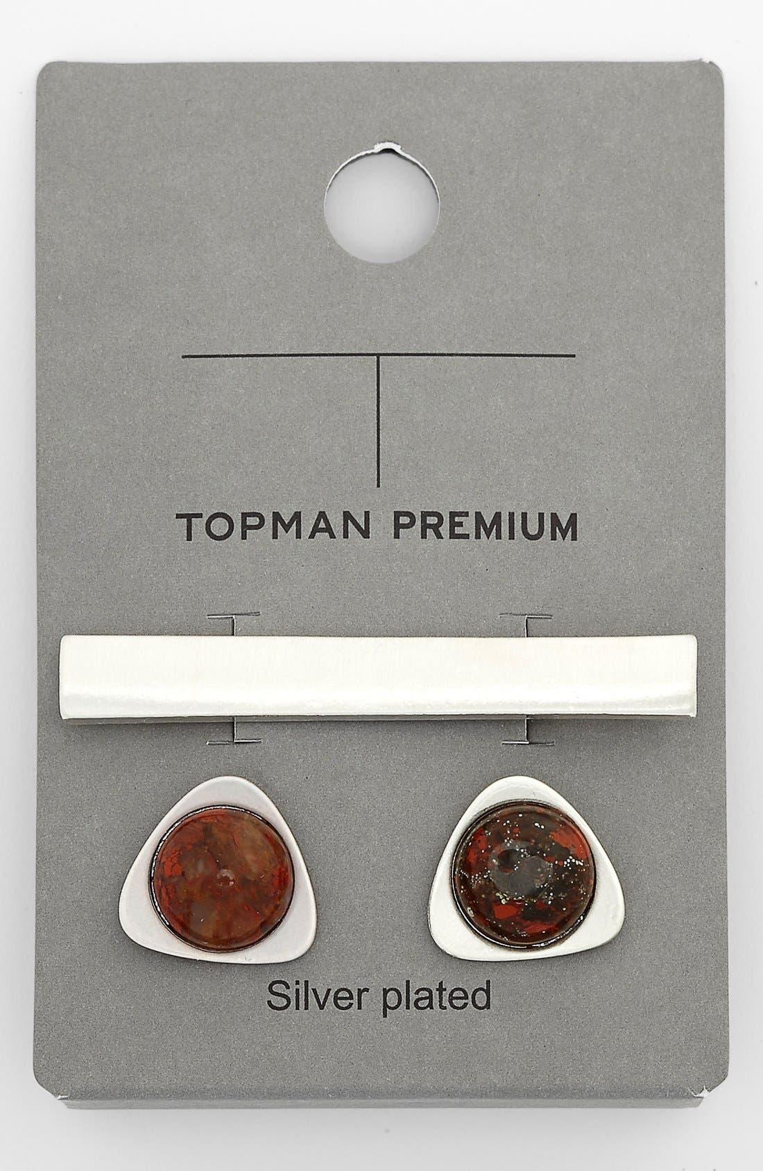 Main Image - Topman Cuff Links and Tie Bar