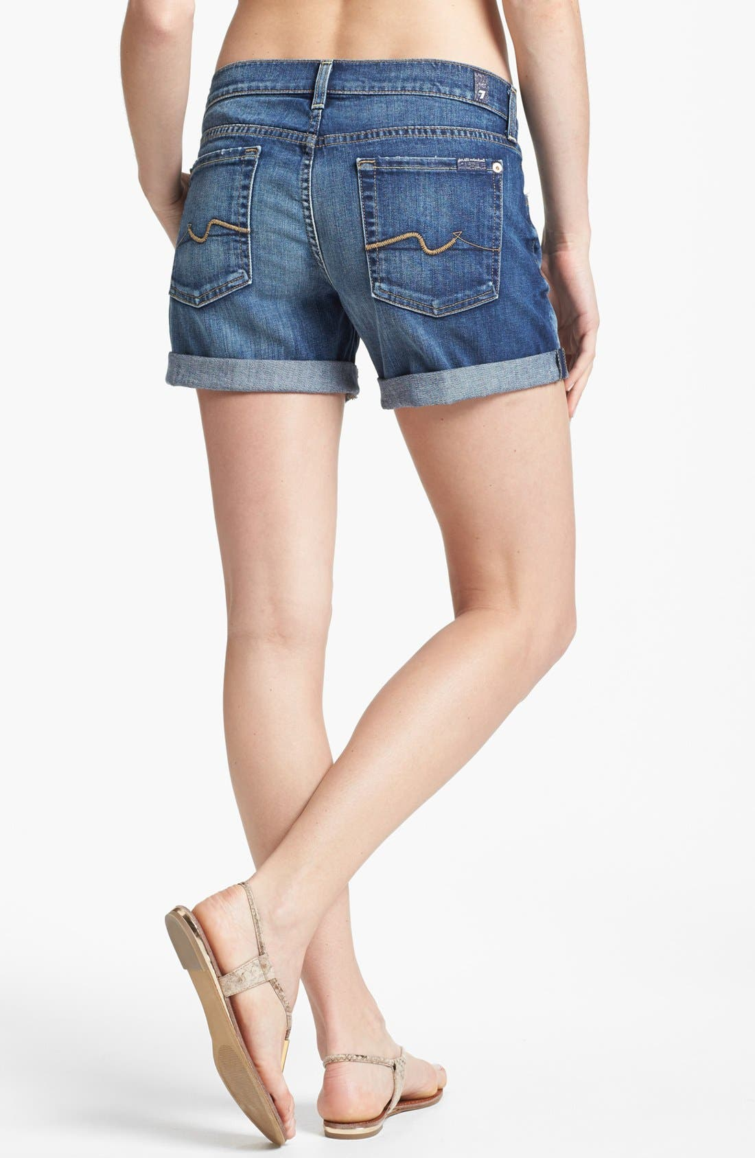 Alternate Image 2  - 7 For All Mankind® Cuff Denim Shorts (Authentic Bright Blue)
