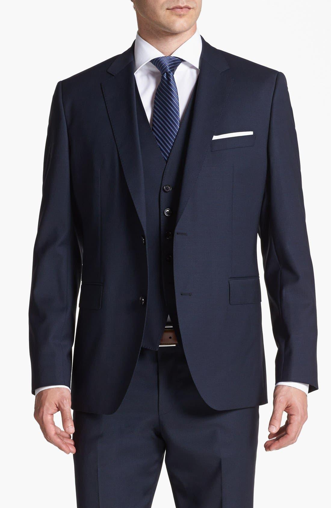 Alternate Image 4  - BOSS HUGO BOSS 'James/Sharp' Trim Fit Three-Piece Suit