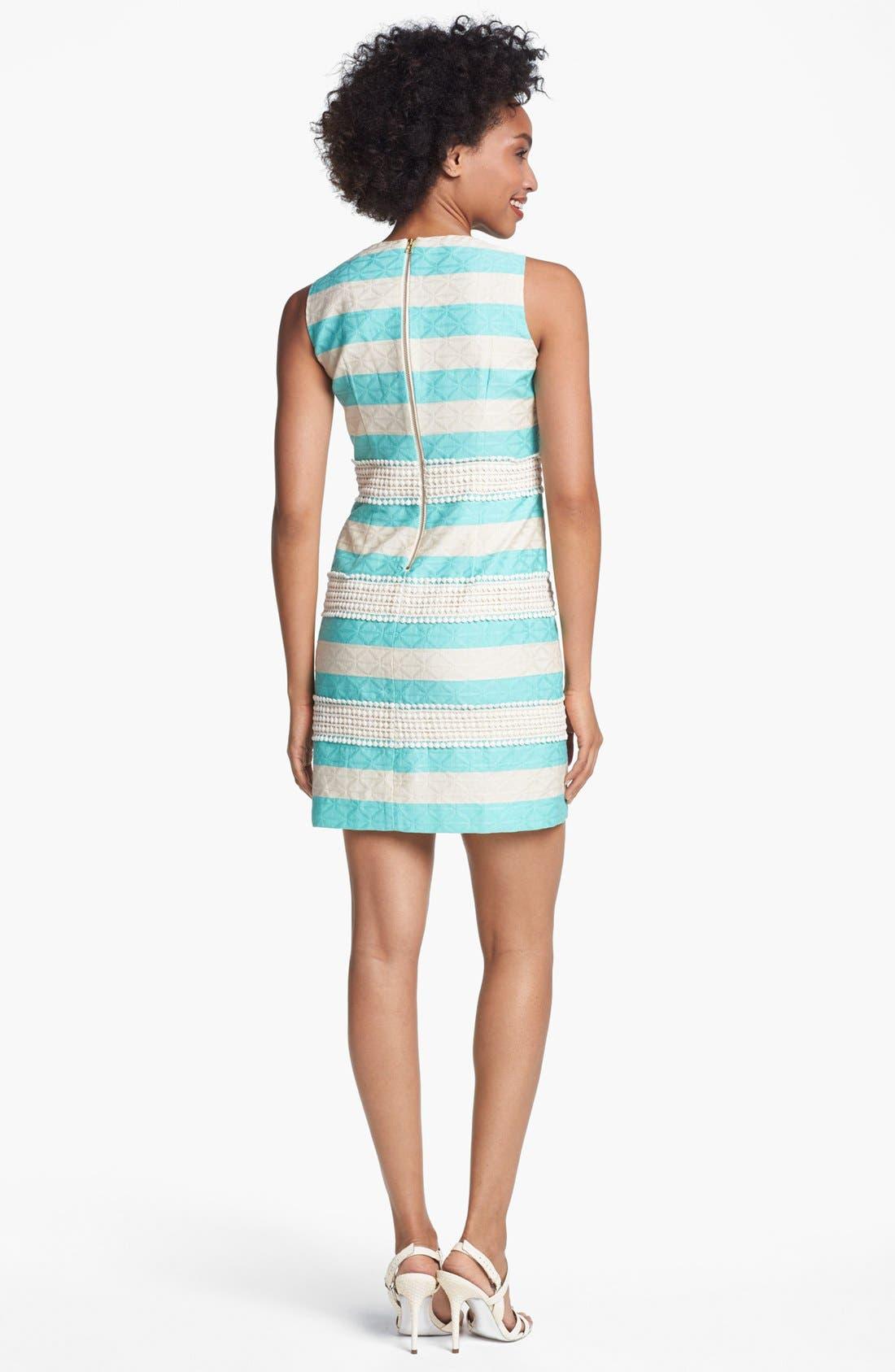 Alternate Image 2  - Taylor Dresses Jacquard Stripe Lace Detail Shift Dress
