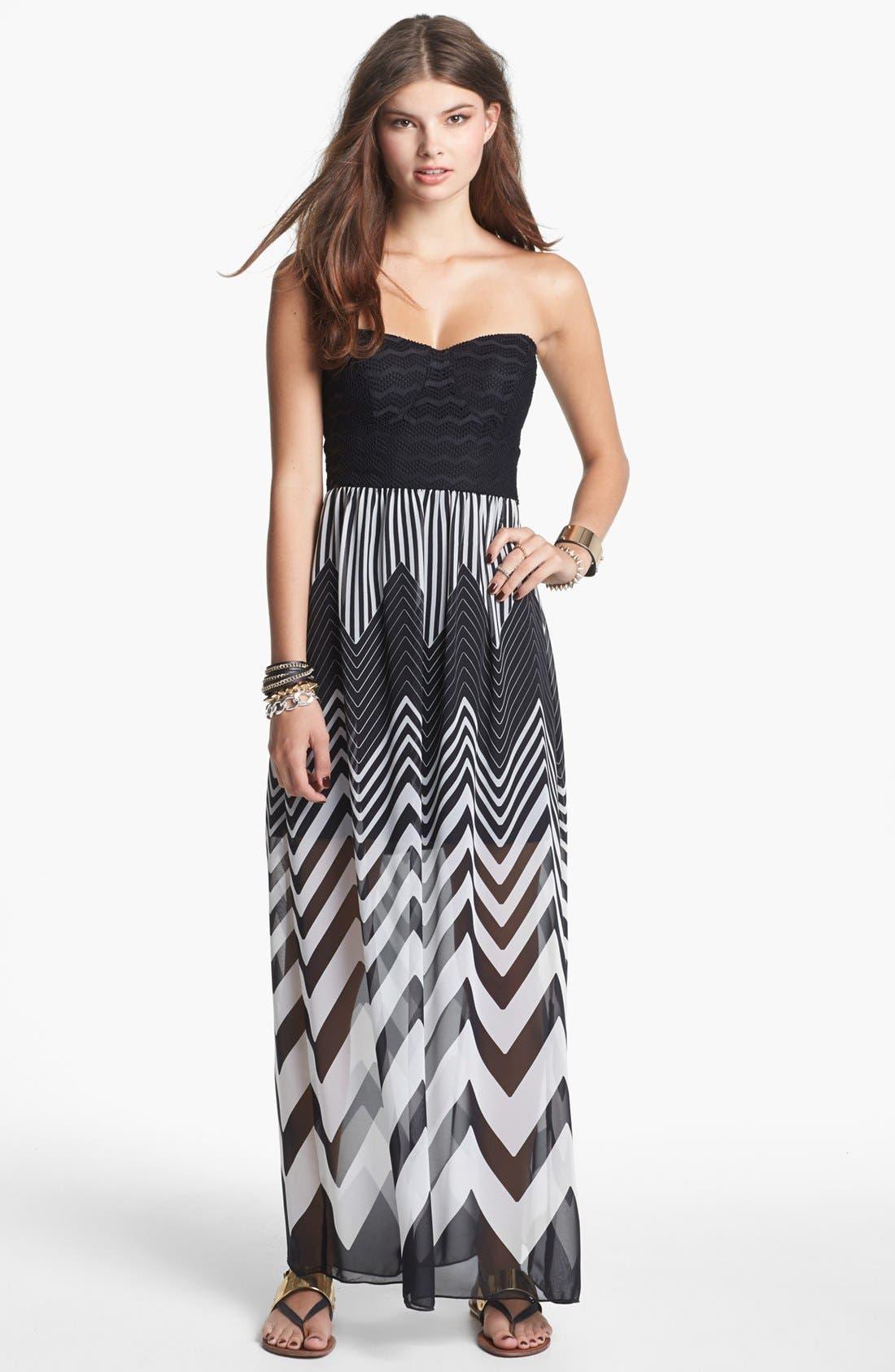 Alternate Image 1 Selected - Trixxi Strapless Chiffon Maxi Dress (Juniors) (Online Only)