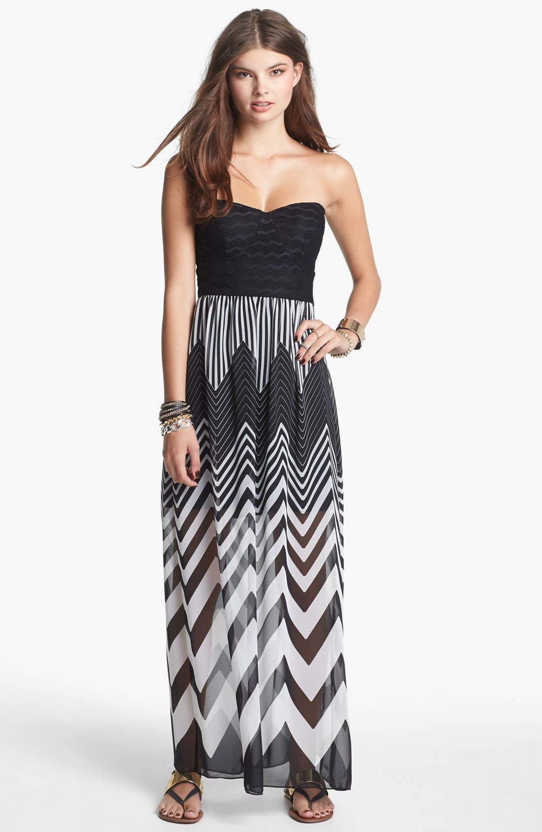 Main Image - Trixxi Strapless Chiffon Maxi Dress (Juniors) (Online Only)