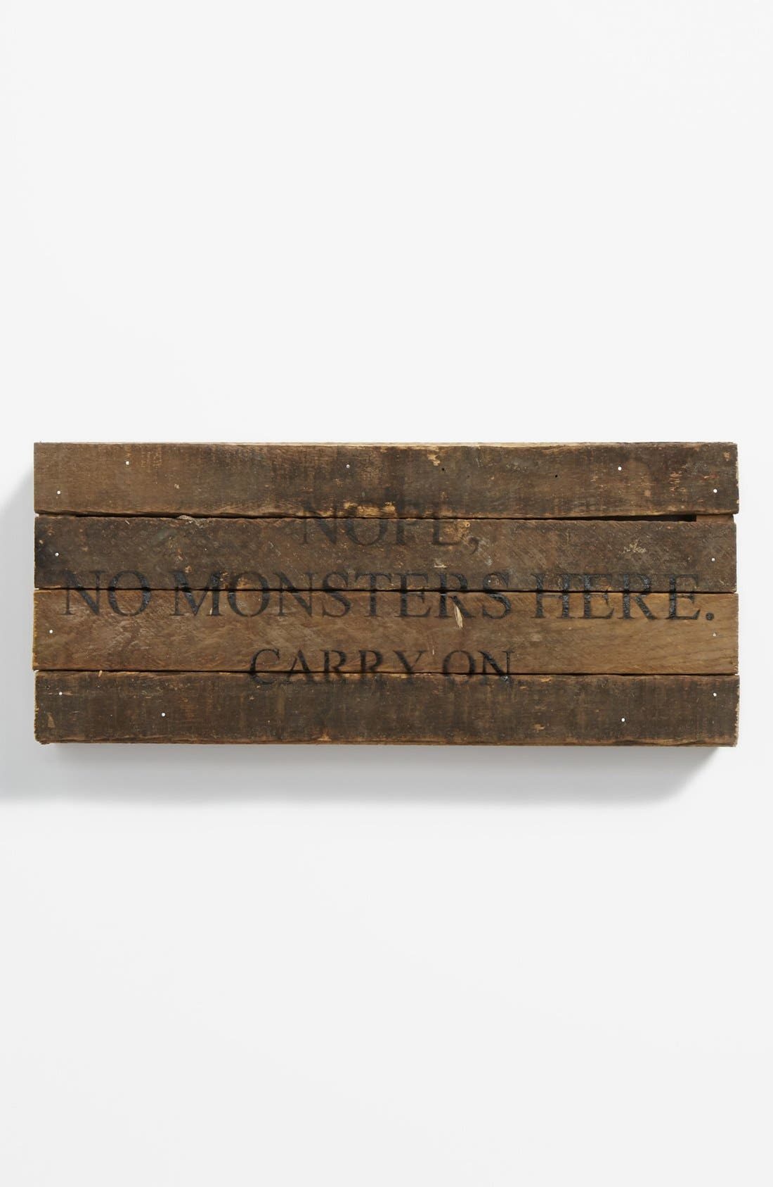Main Image - 'Nope, No Monsters' Wood Wall Plaque