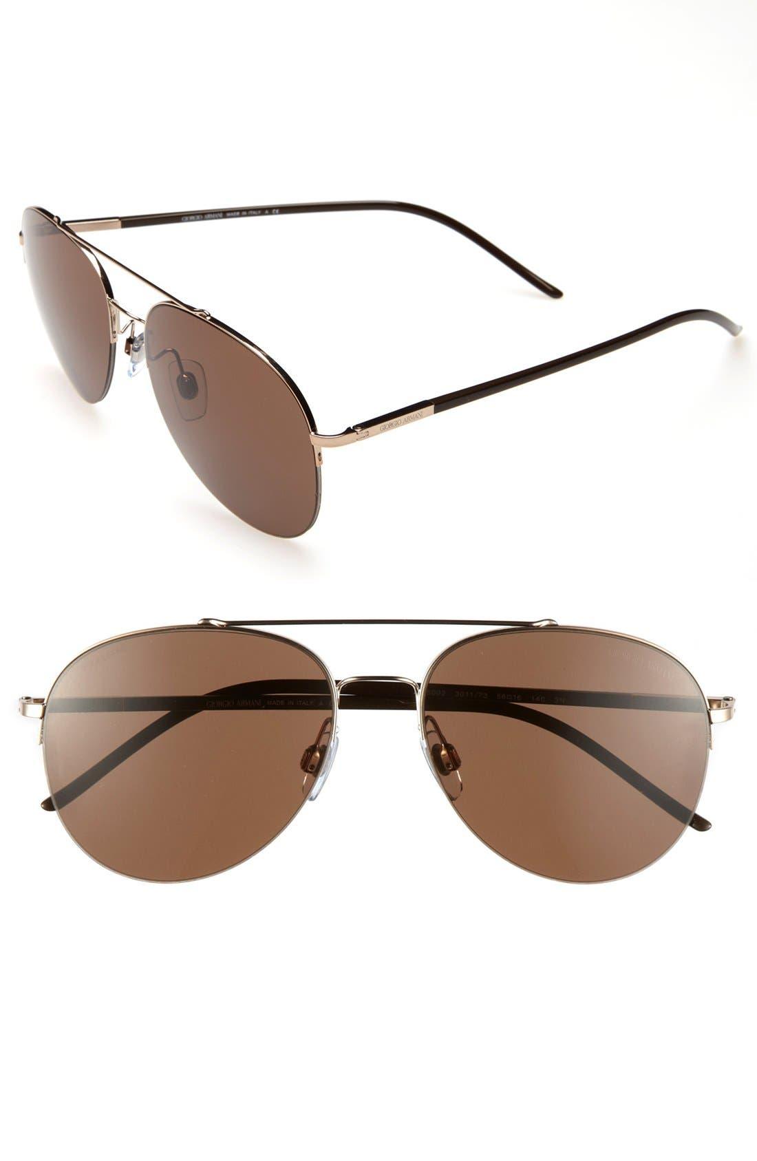 Main Image - Giorgio Armani 56mm Aviator Sunglasses