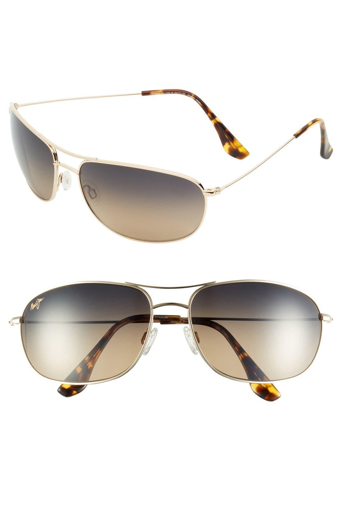 Main Image - Maui Jim 'Hideaways - Maui Evolution®' 64mm Polarized Metal Sunglasses